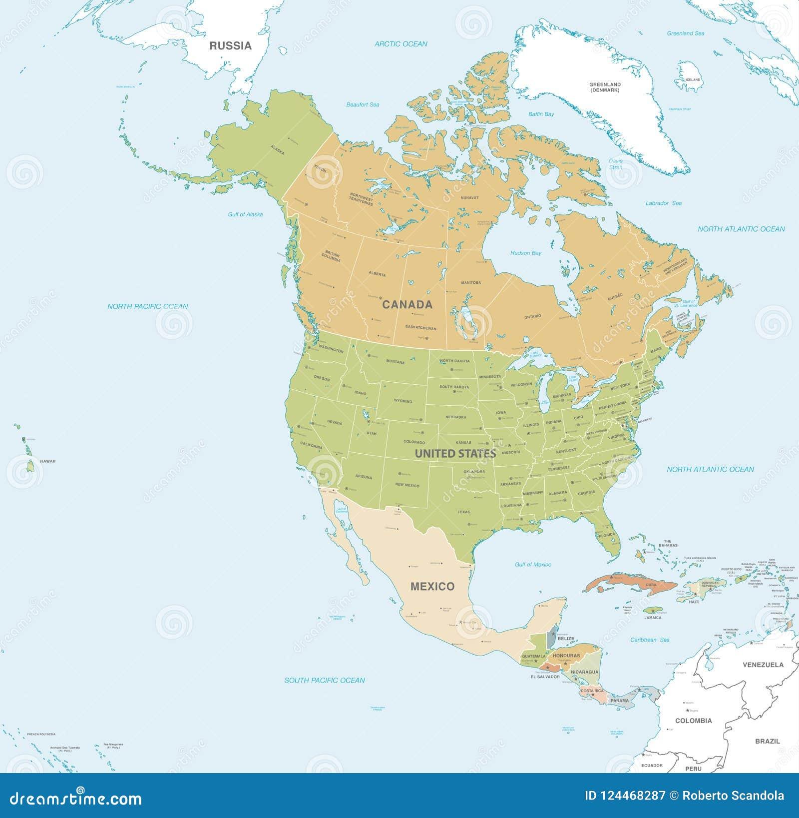 Vektoroversikt Av Norden Och Central America Vektor