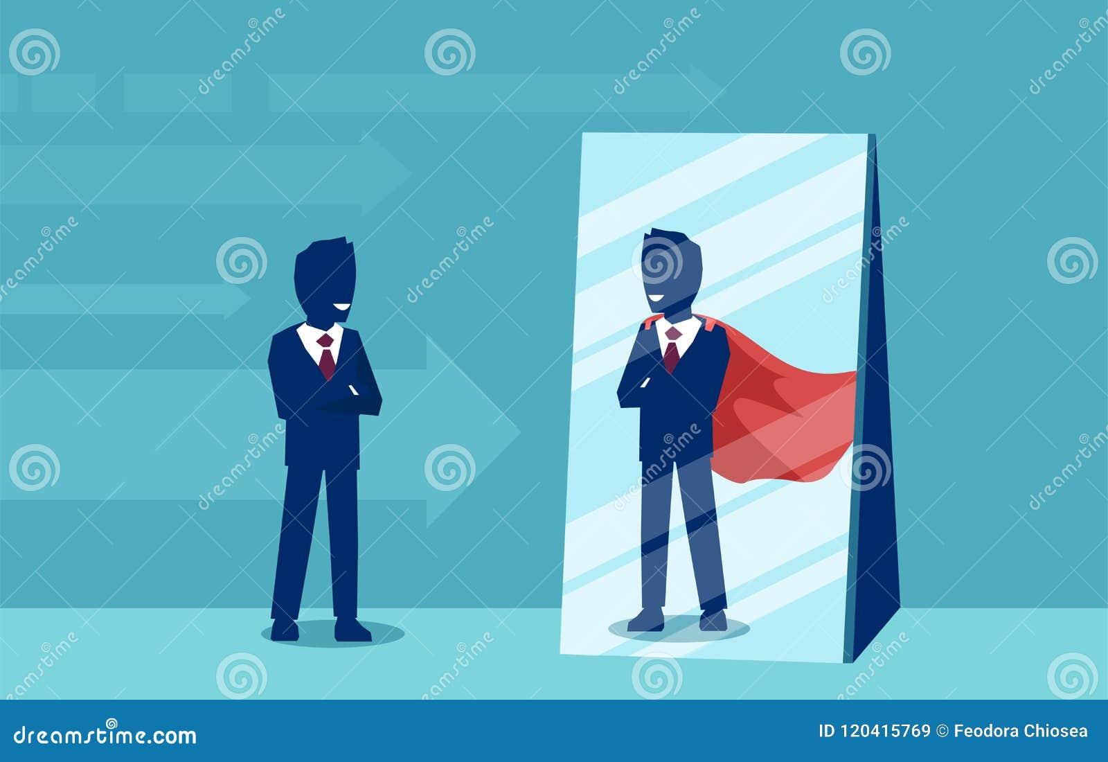 Vektor av en motiverad affärsman som vänder mot sig som en toppen hjälte i spegeln