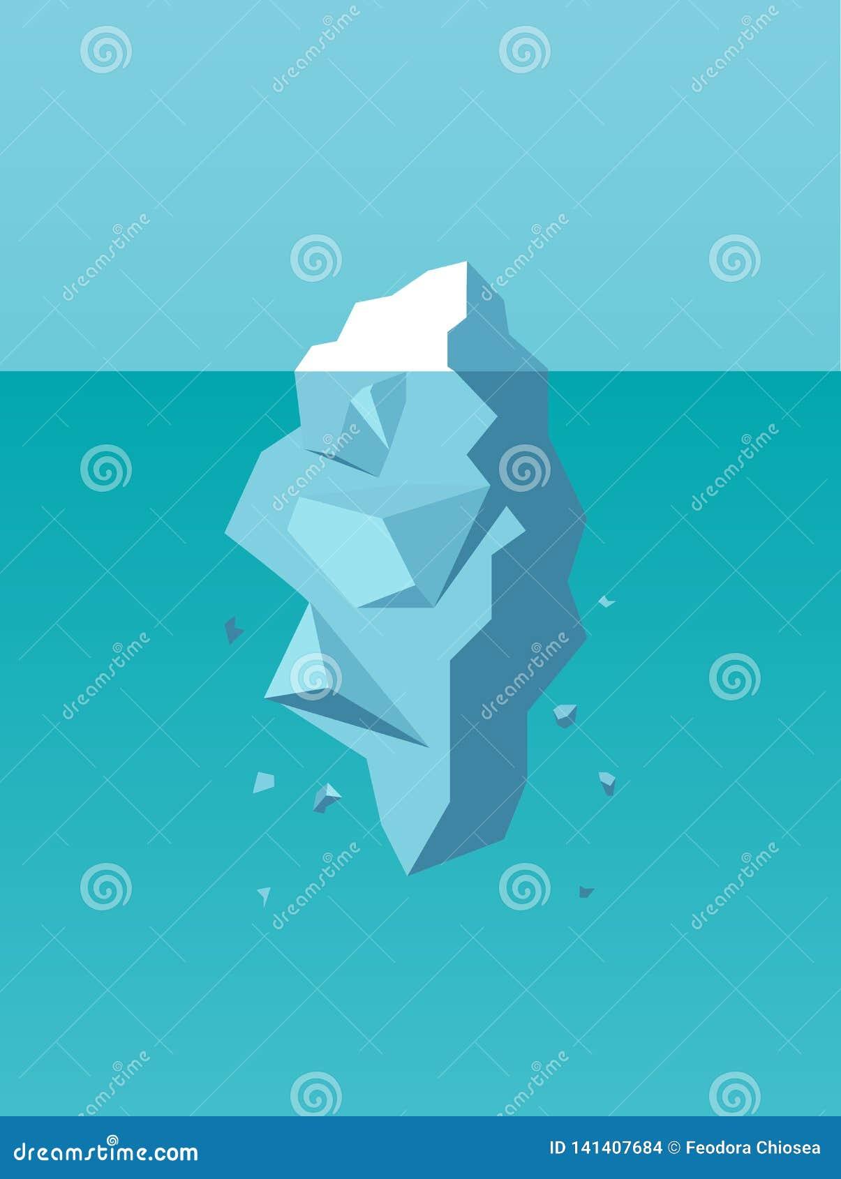 Vektor av ett isberg som ett symbol av affärsrisken, fara, utmaning