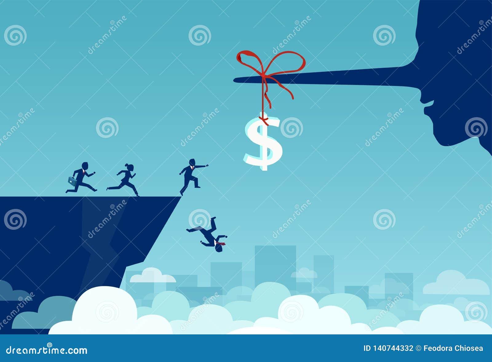 Vektor av gruppen av affärsfolk som kör in mot ett dollartecken som binds till en lång näsa för lögnare och av faller en klippa