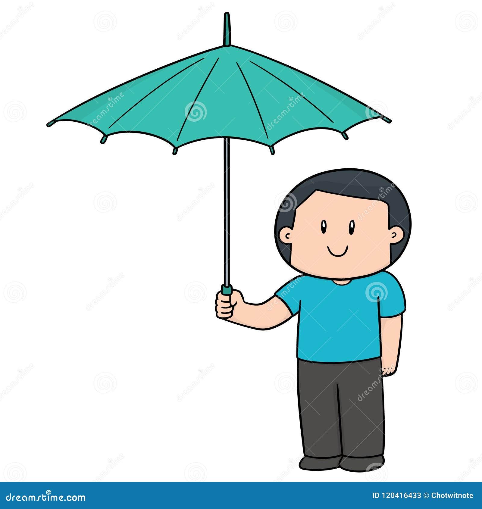 Vektor av mannen som använder paraplyet
