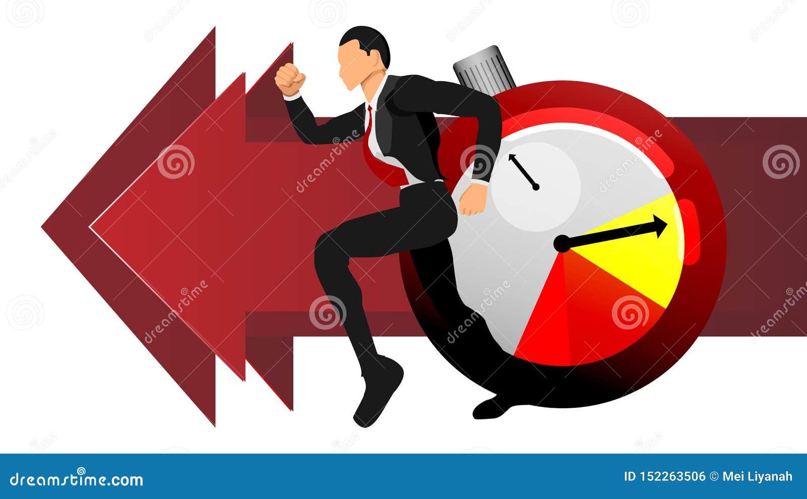 Vektor av vuxna män som jagar tid om informationsaffär om illustration diagram för information EPS10