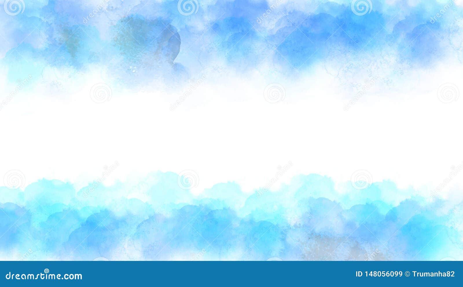 Vektor-blauer und grüner Aquarell-Beschaffenheits-Rahmen für abstrakten Hintergrund