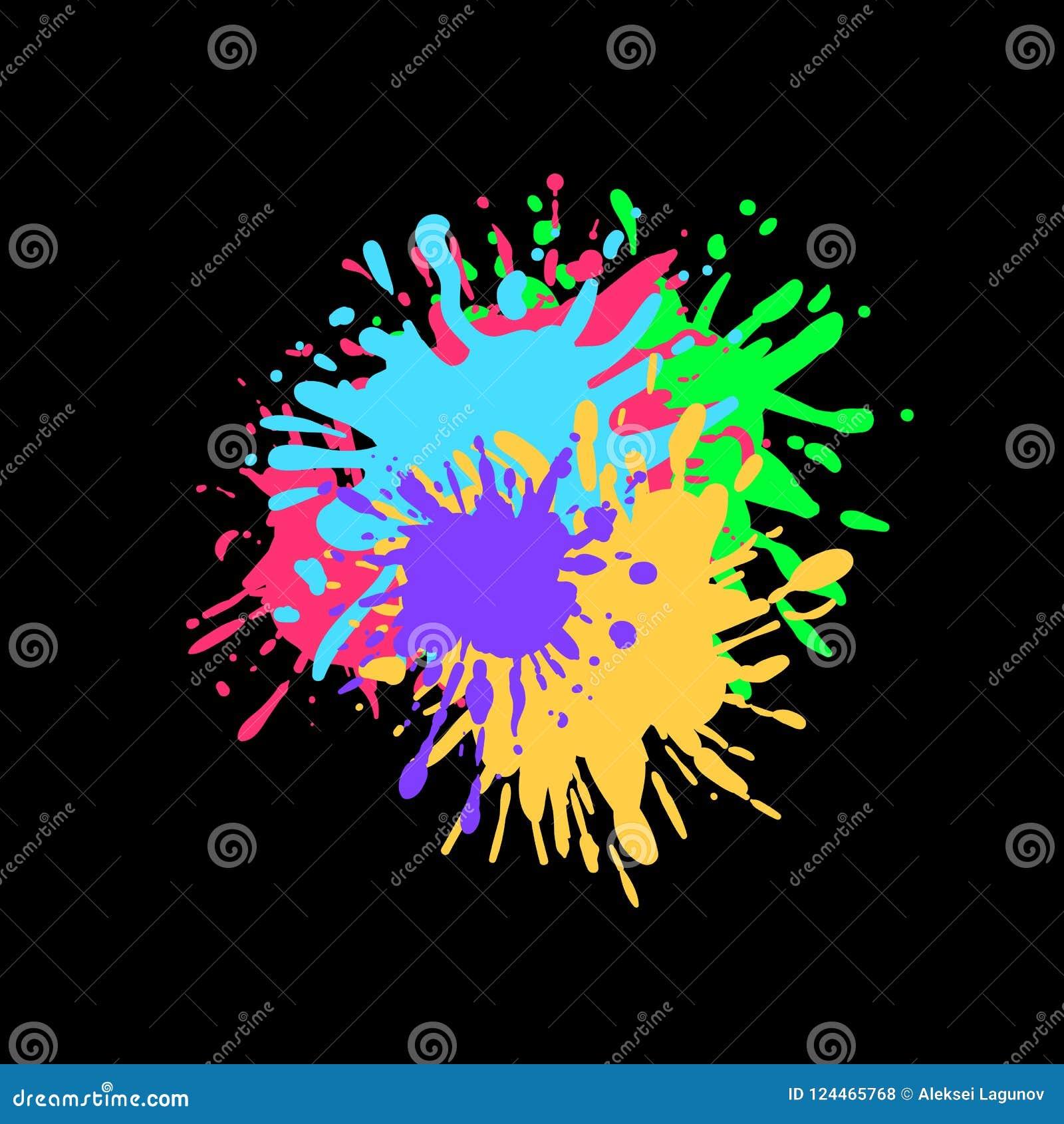 Vektor-bunte Farbe spritzt auf schwarzen Hintergrund, Tinten-Spritzen