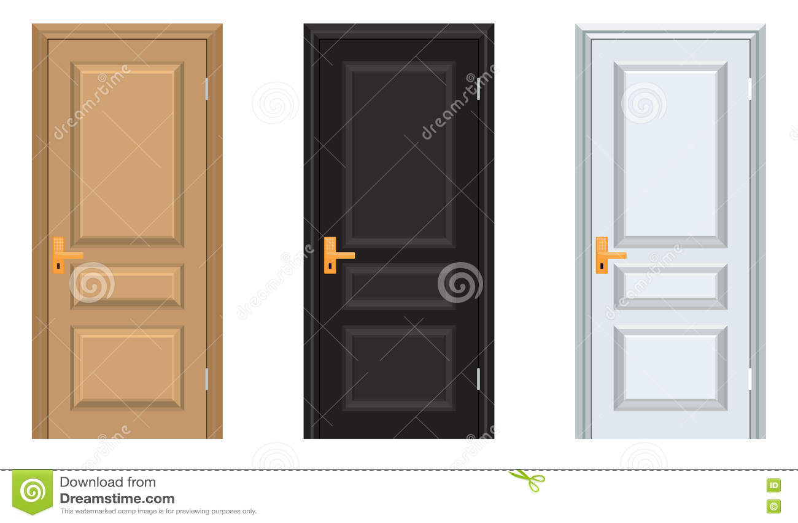 Schwarze Türen vektor-bunte geschlossene tür mit feld weiße schwarze braune türen