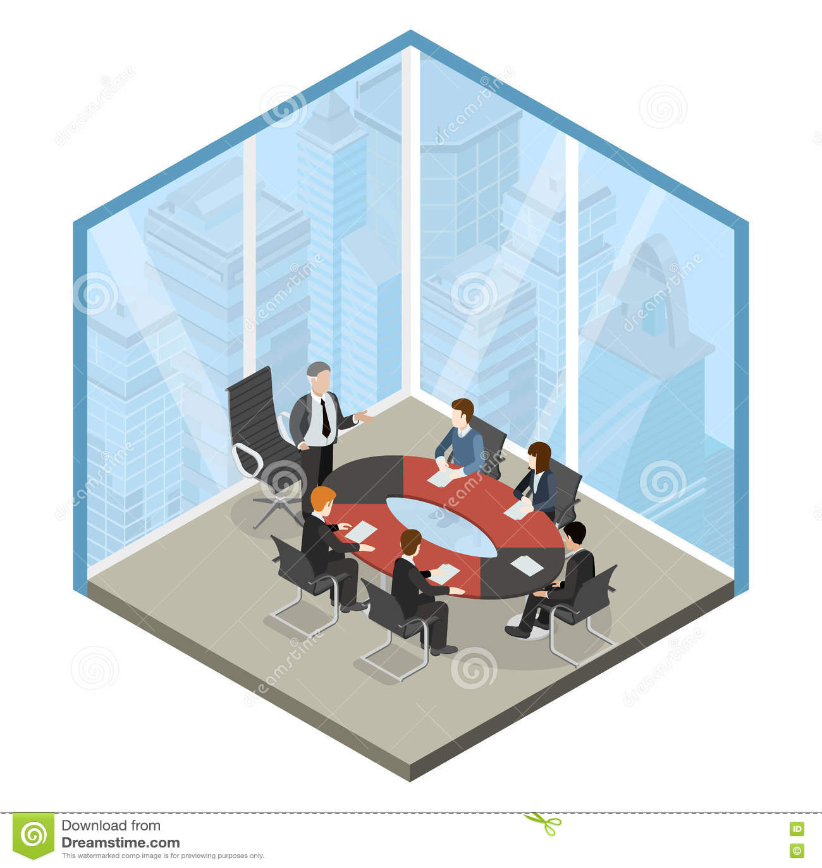 Vektor 3d för lägenhet för mitt för framstickandemöteaffär isometrisk