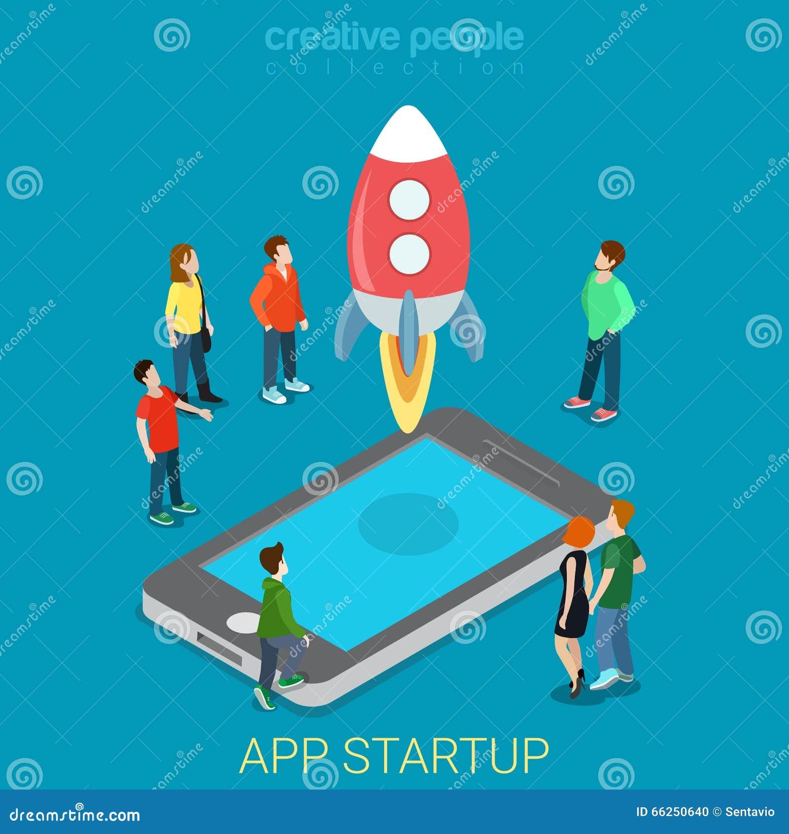 Vektor 3d för process för App startup mobil lanserande plan isometrisk