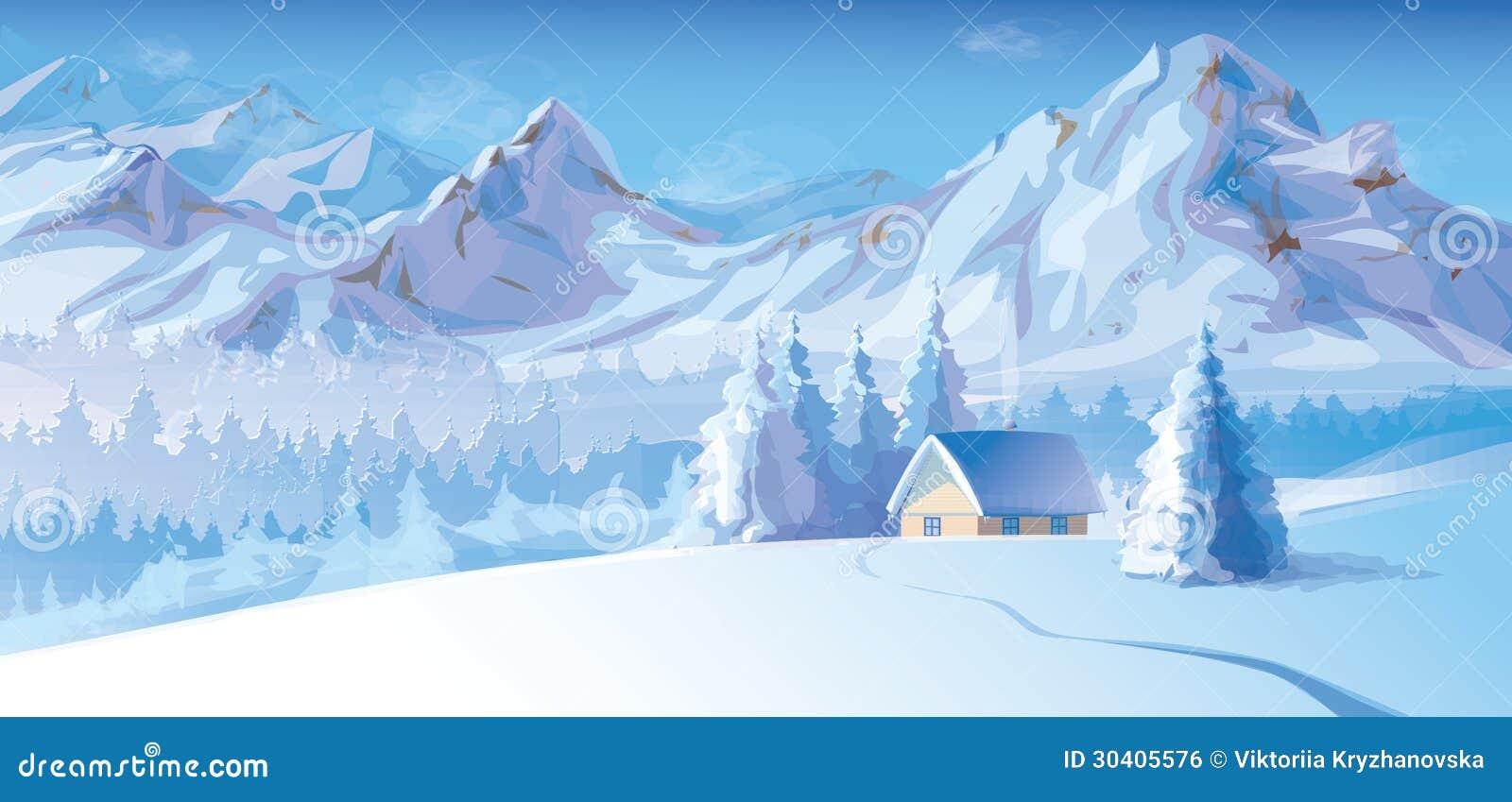 Vektor der Winterlandschaft mit Bergen und Taubenschlag