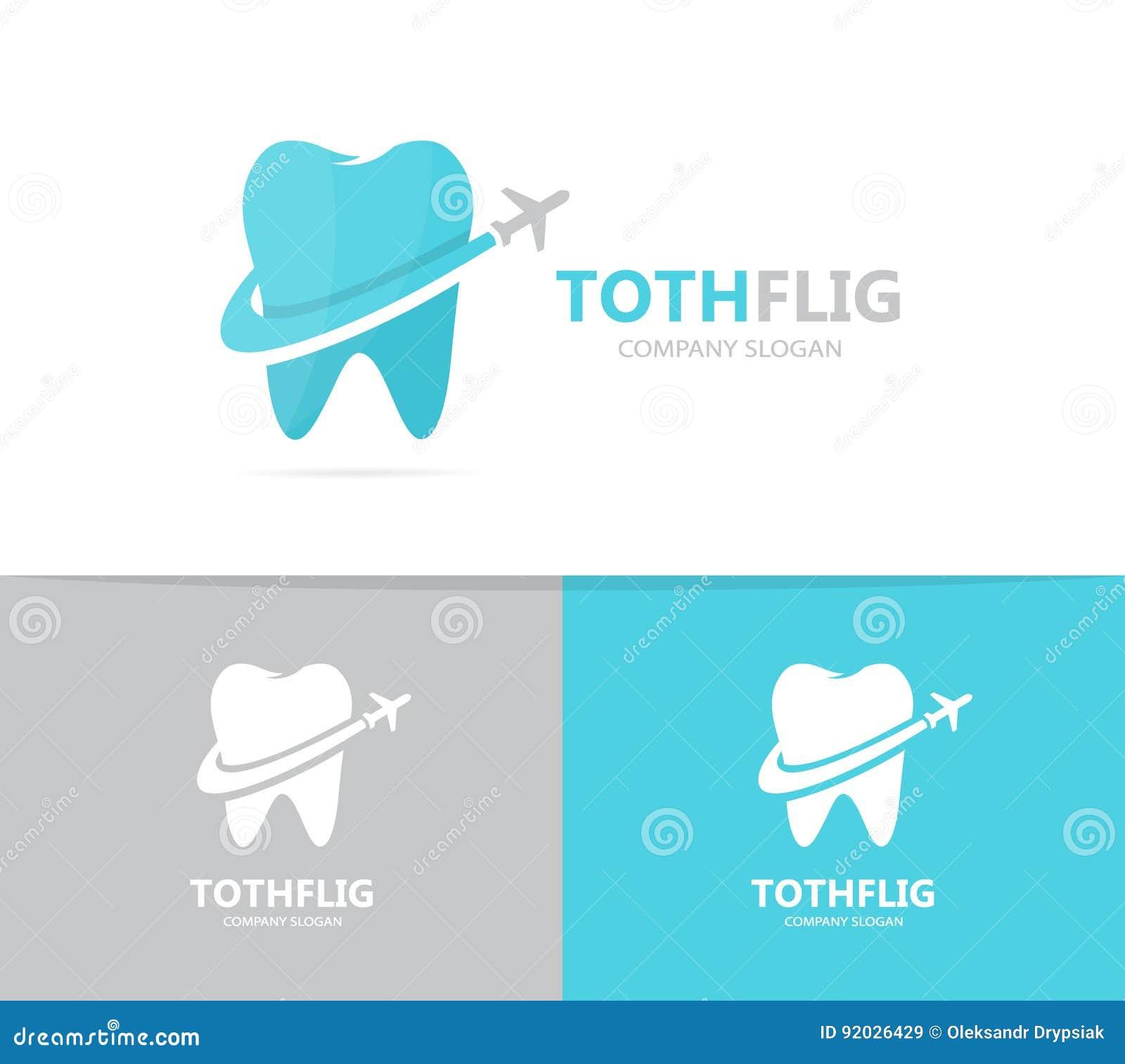 Vektor Der Zahn- Und Flugzeuglogokombination Zahnmedizinisches Und ...