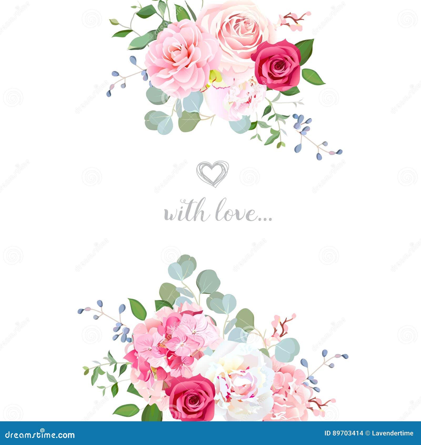 Vektor Designkarte Der Empfindlichen Hochzeit Blumen Vektor