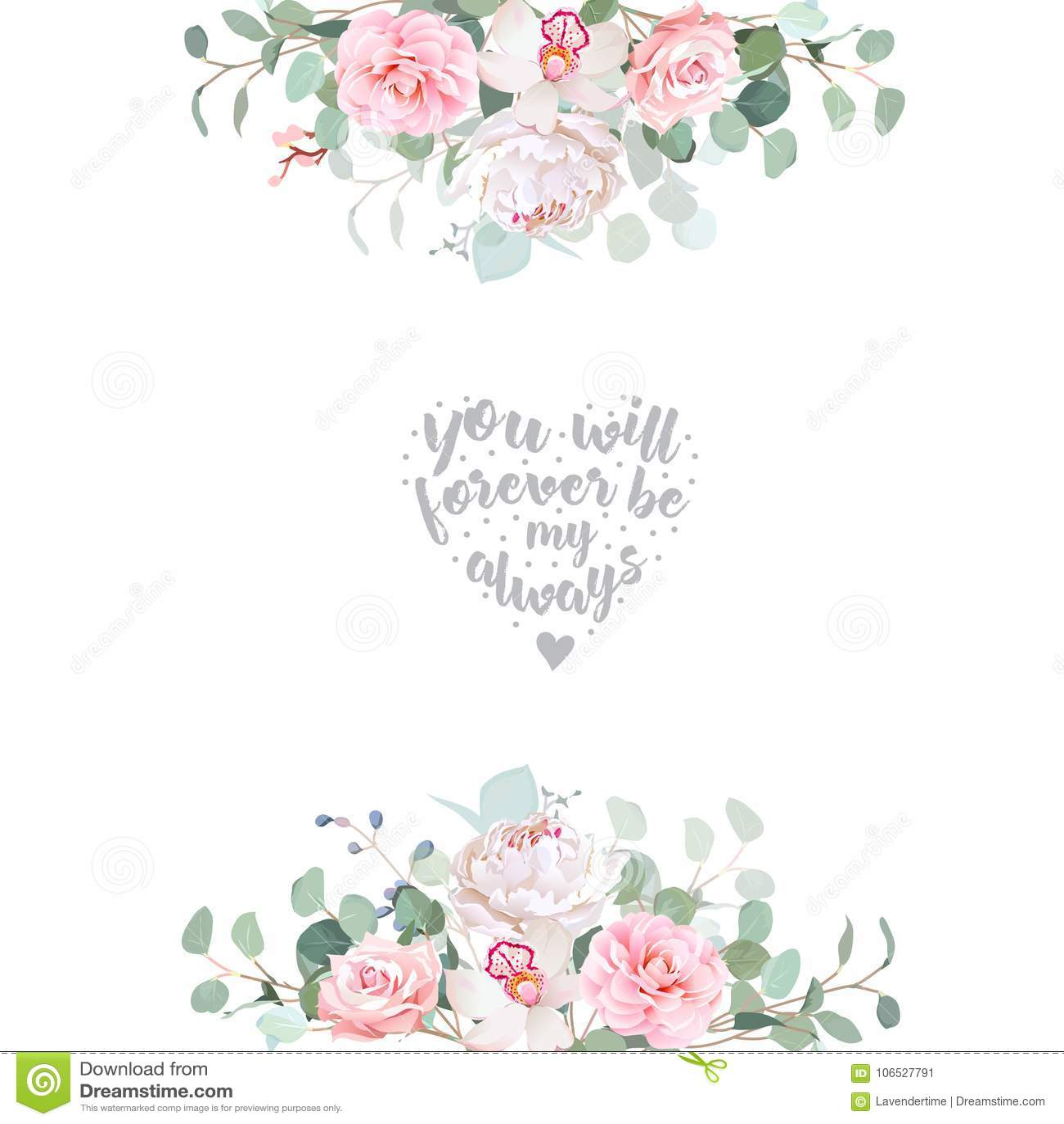 Vektor Designrahmen Der Netten Hochzeit Blumen Vektor Abbildung