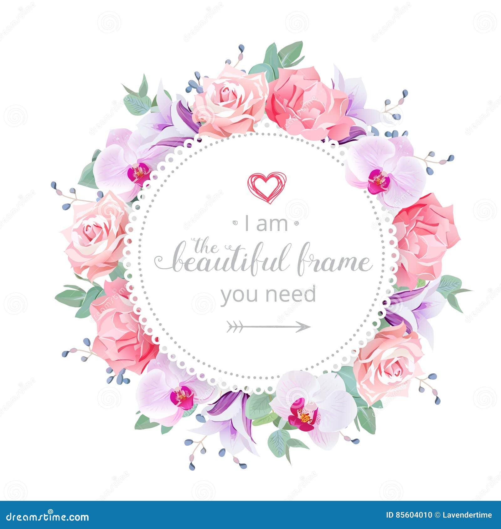 Vektor Designrahmen Der Schonen Hochzeit Blumen Vektor Abbildung