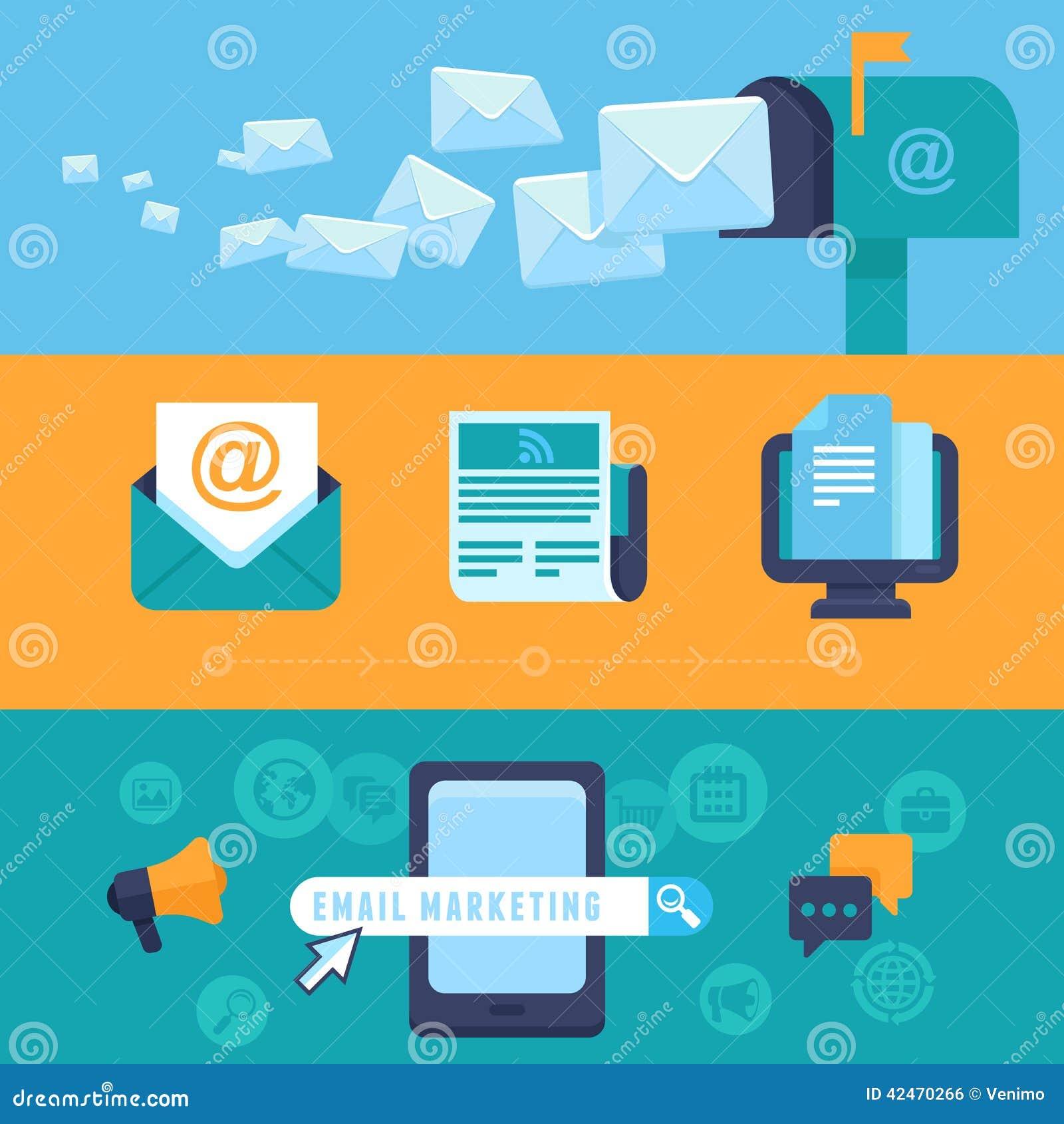 Vektor-E-Mail-Marketing-Konzepte - flache Ikonen