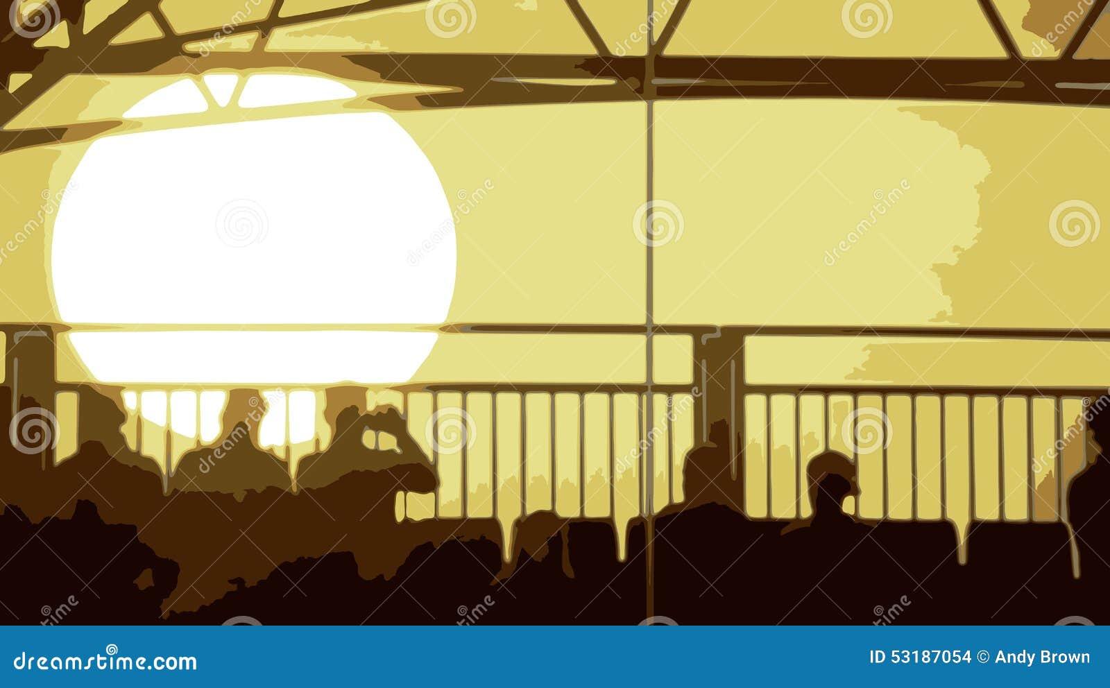 Vektor eines Abend-Sonnenuntergangs mit den Leuten, die im foregroun sitzen