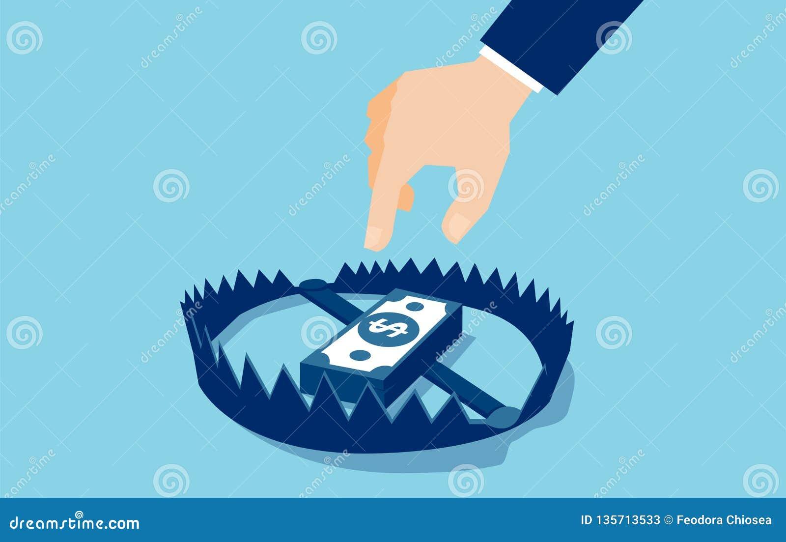 Vektor eines Geschäftsmannes, der versucht, Geldfalle mit Dollarbanknoten zu erreichen