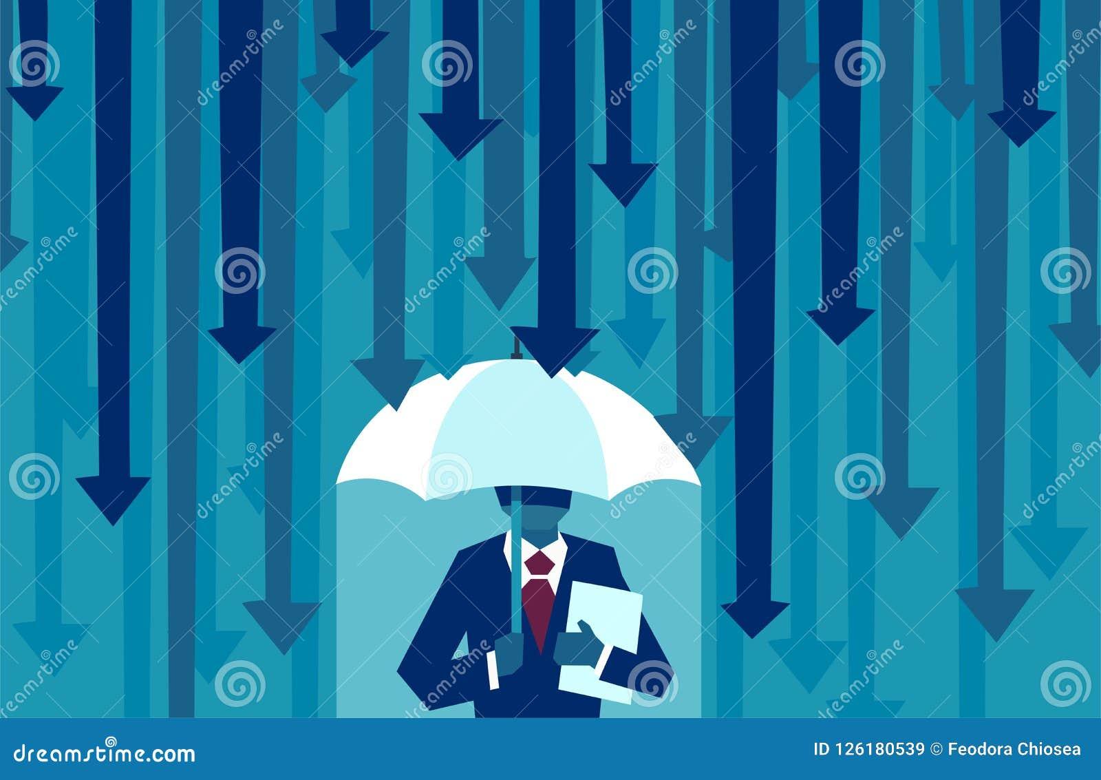 Vektor eines Geschäftsmannes mit dem Regenschirm, der vor fallenden Pfeilen schützend widersteht