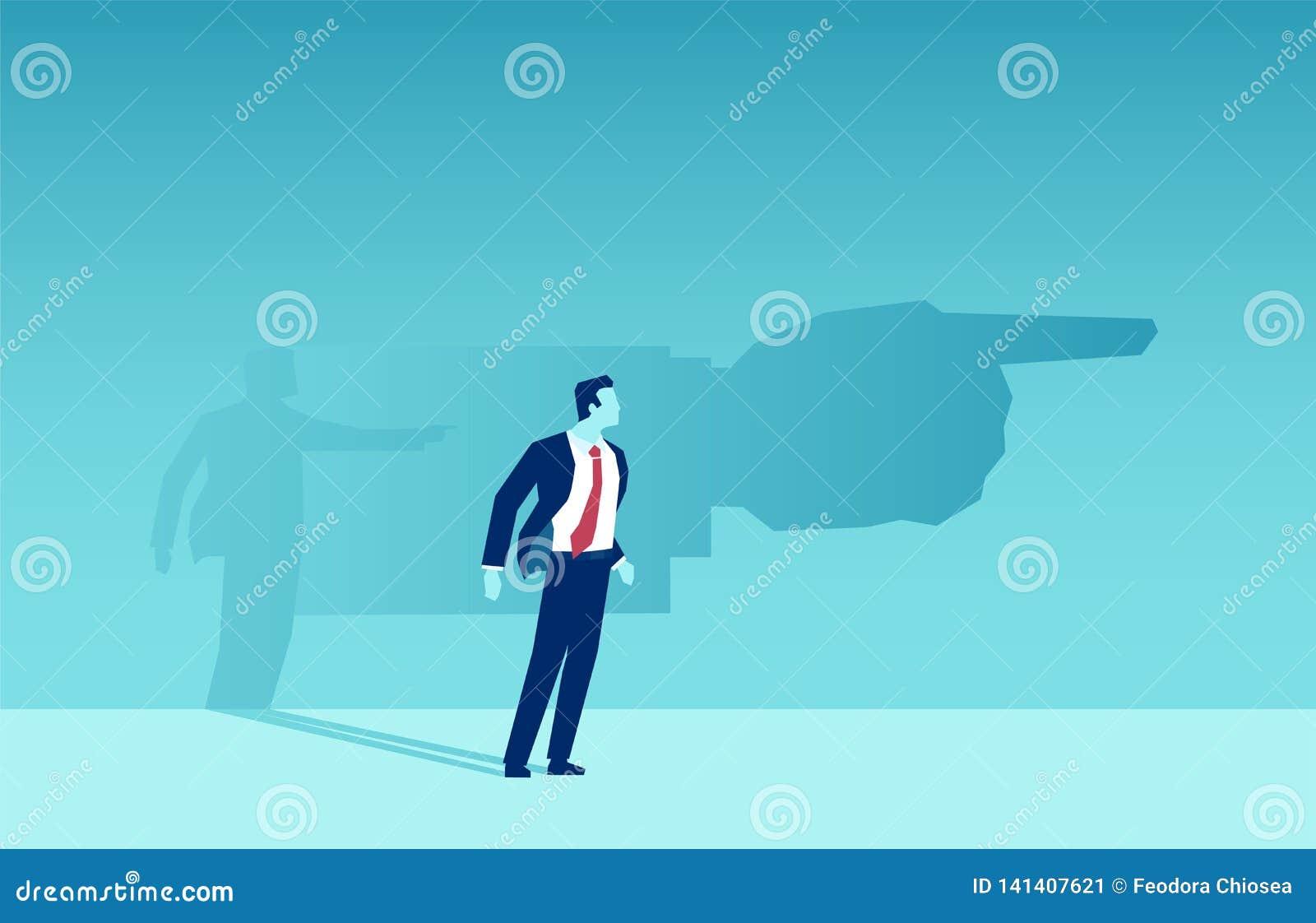 Vektor eines Geschäftsmannschattens, der ihn eine Richtung zeigt