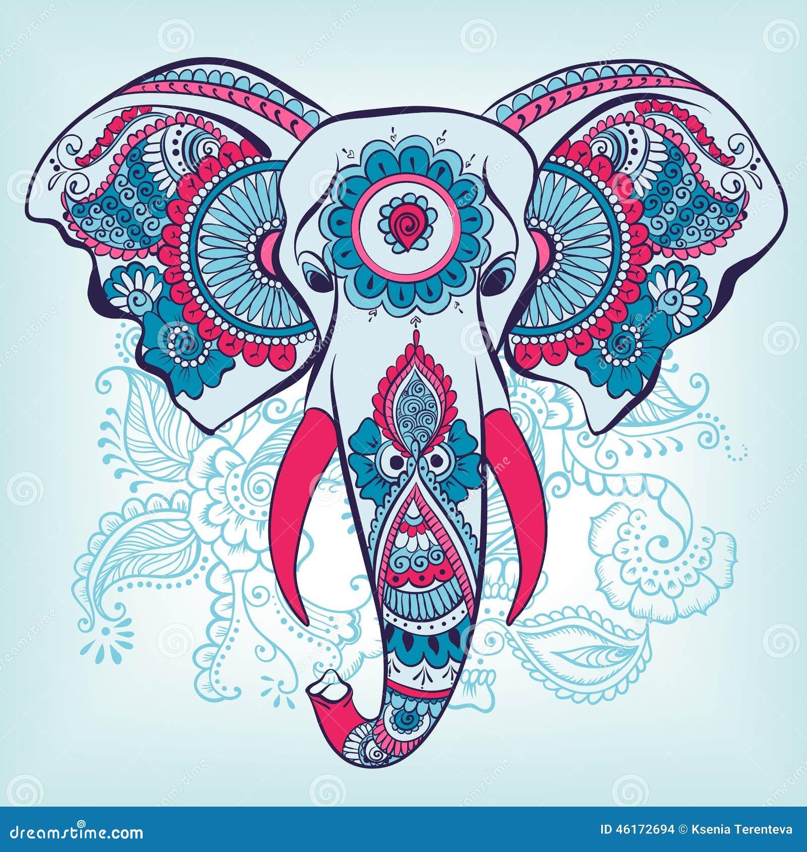 Mehndi Elephant Head : Vektor elefant auf henna indian ornament abbildung