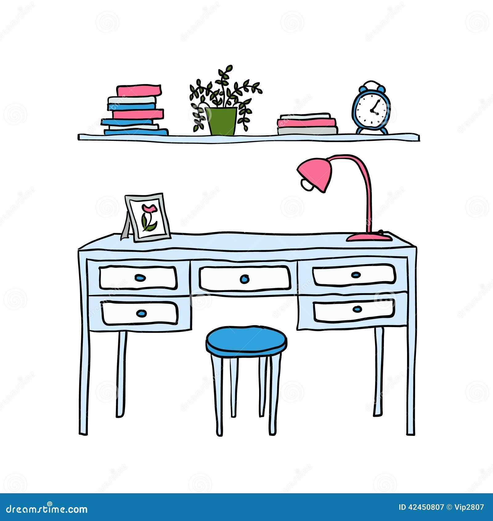 Vektor erläuterter Schreibtisch und Regal mit Büchern