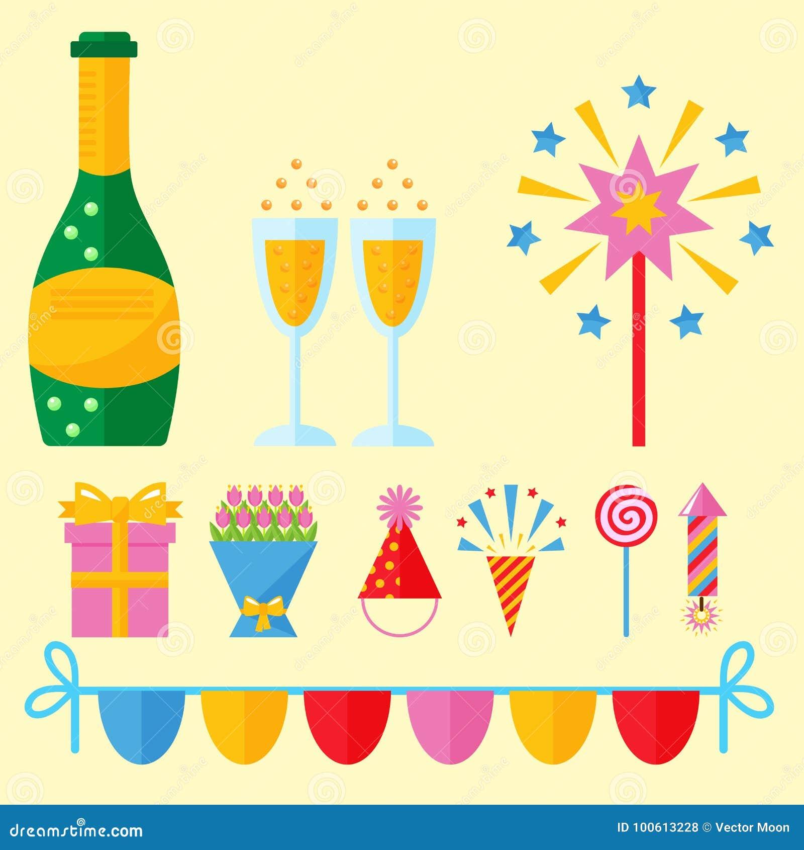 Vektor för årsdag för händelse för garnering för överraskning för lycklig födelsedag för partisymbolsberöm