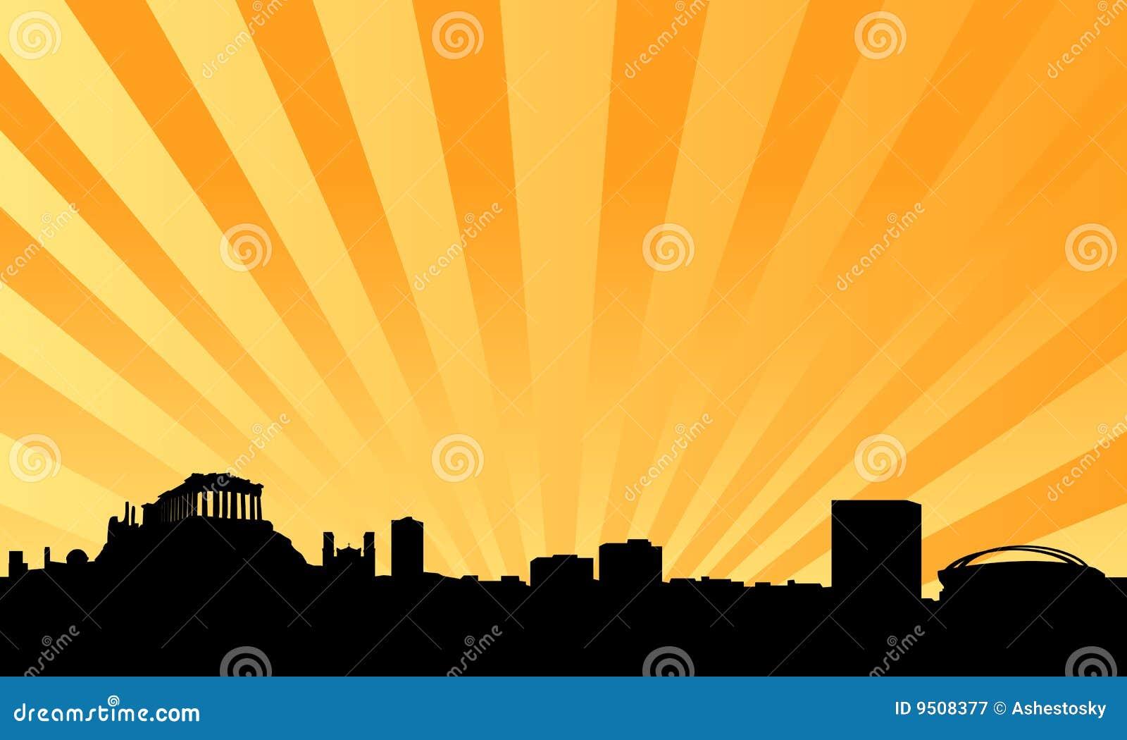 Vektor för athens bakgrundshorisont