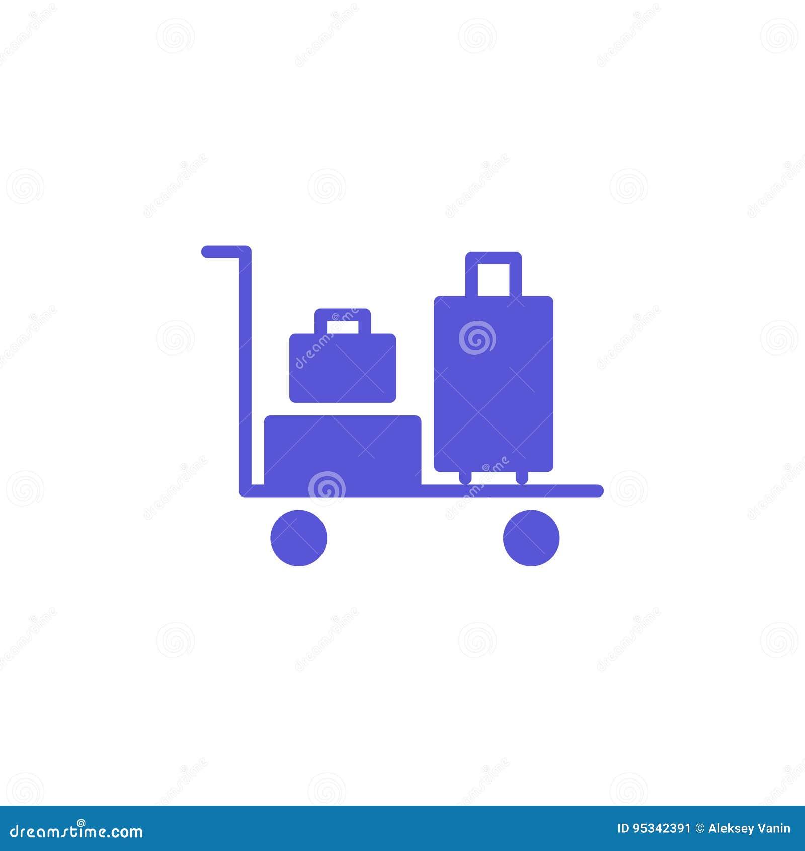 Vektor för bagagespårvagnsymbol, fyllt plant tecken, fast färgrik pictogram som isoleras på vit