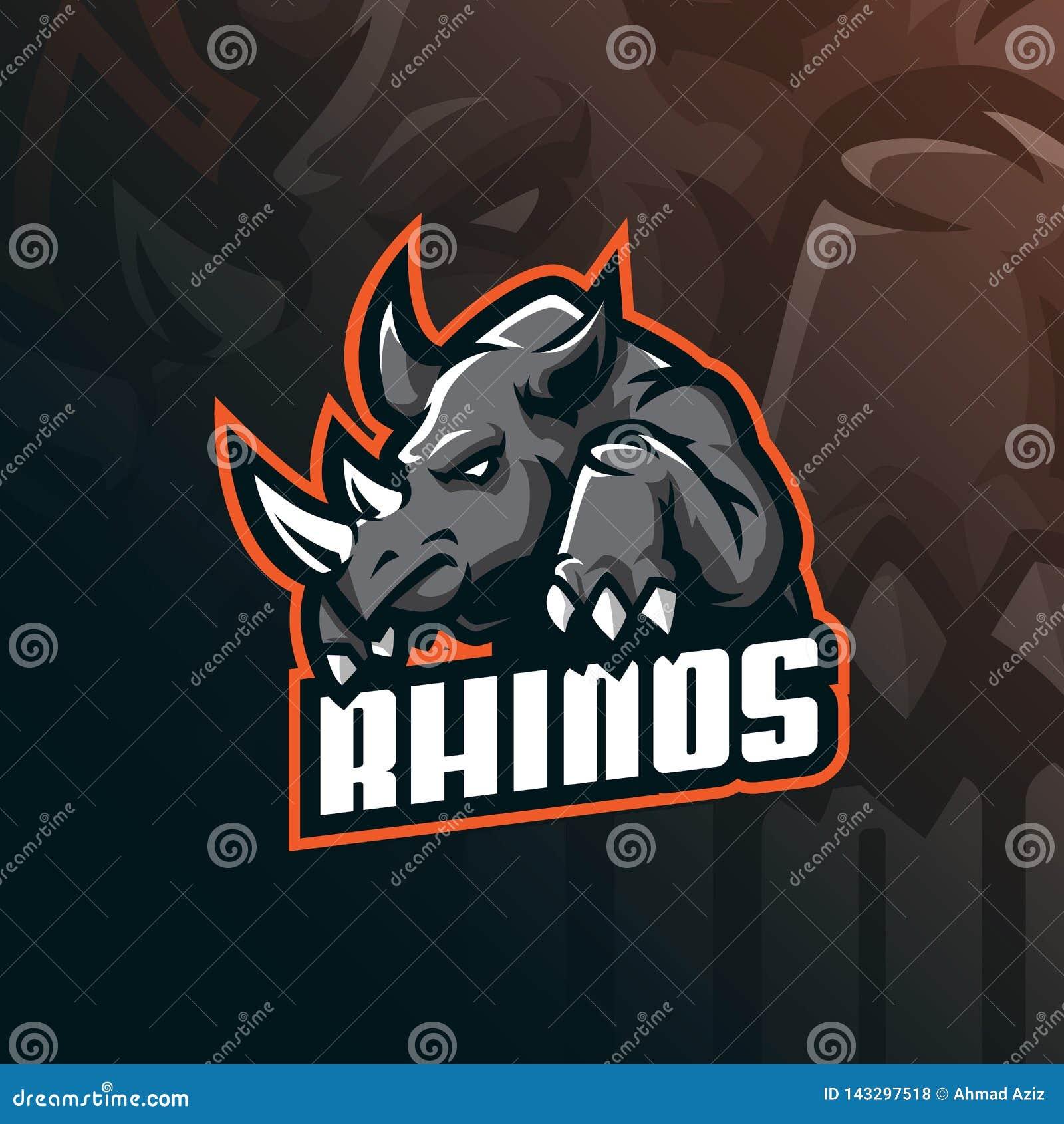 Vektor för design för noshörningmaskotlogo med modern illustrationbegreppsstil för emblem-, emblem- och tshirtutskrift ilsken nos