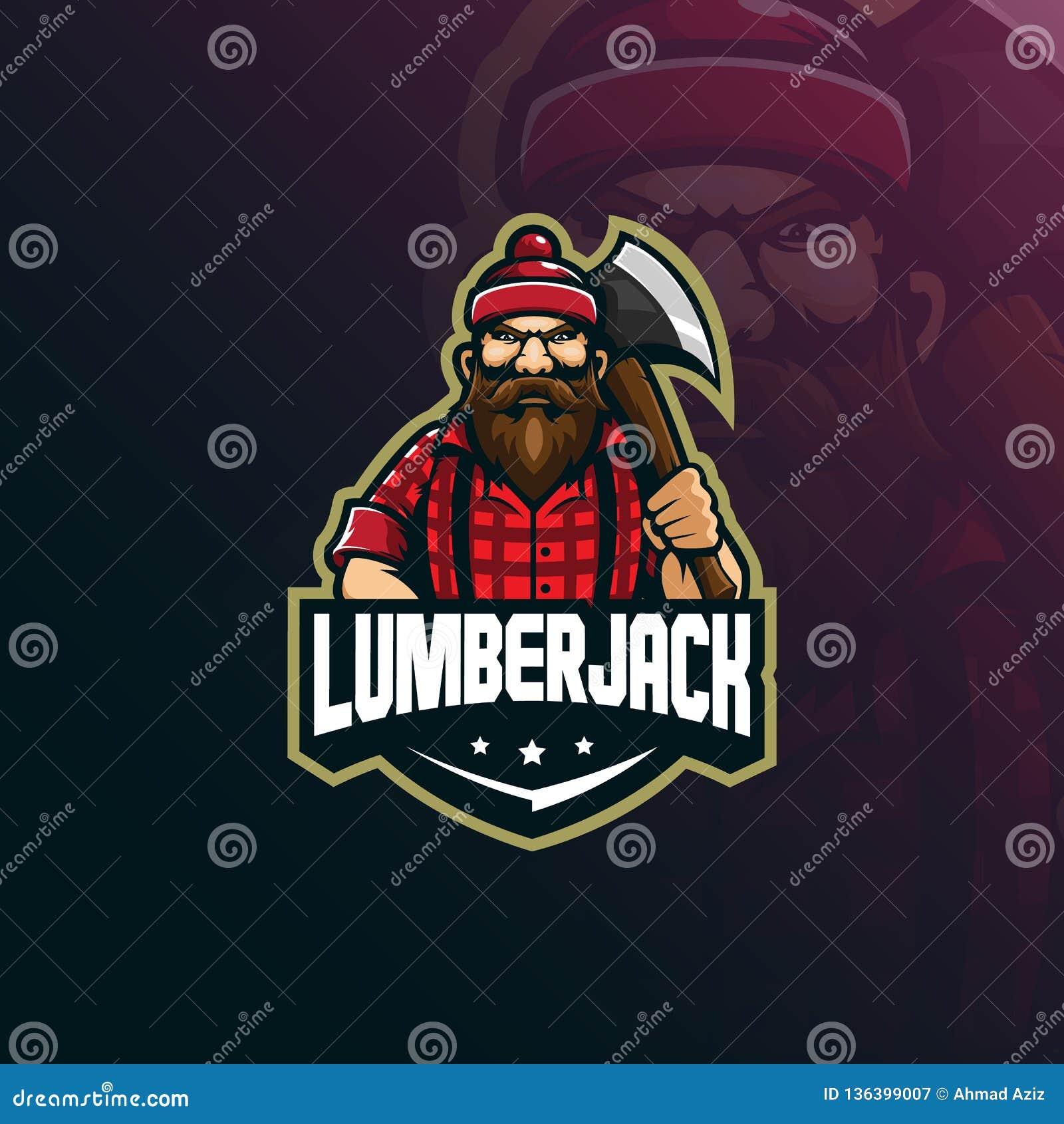 Vektor för design för skogsarbetaremaskotlogo med modern illustrationbegreppsstil för emblem, emblem och t-skjortautskrift lumber
