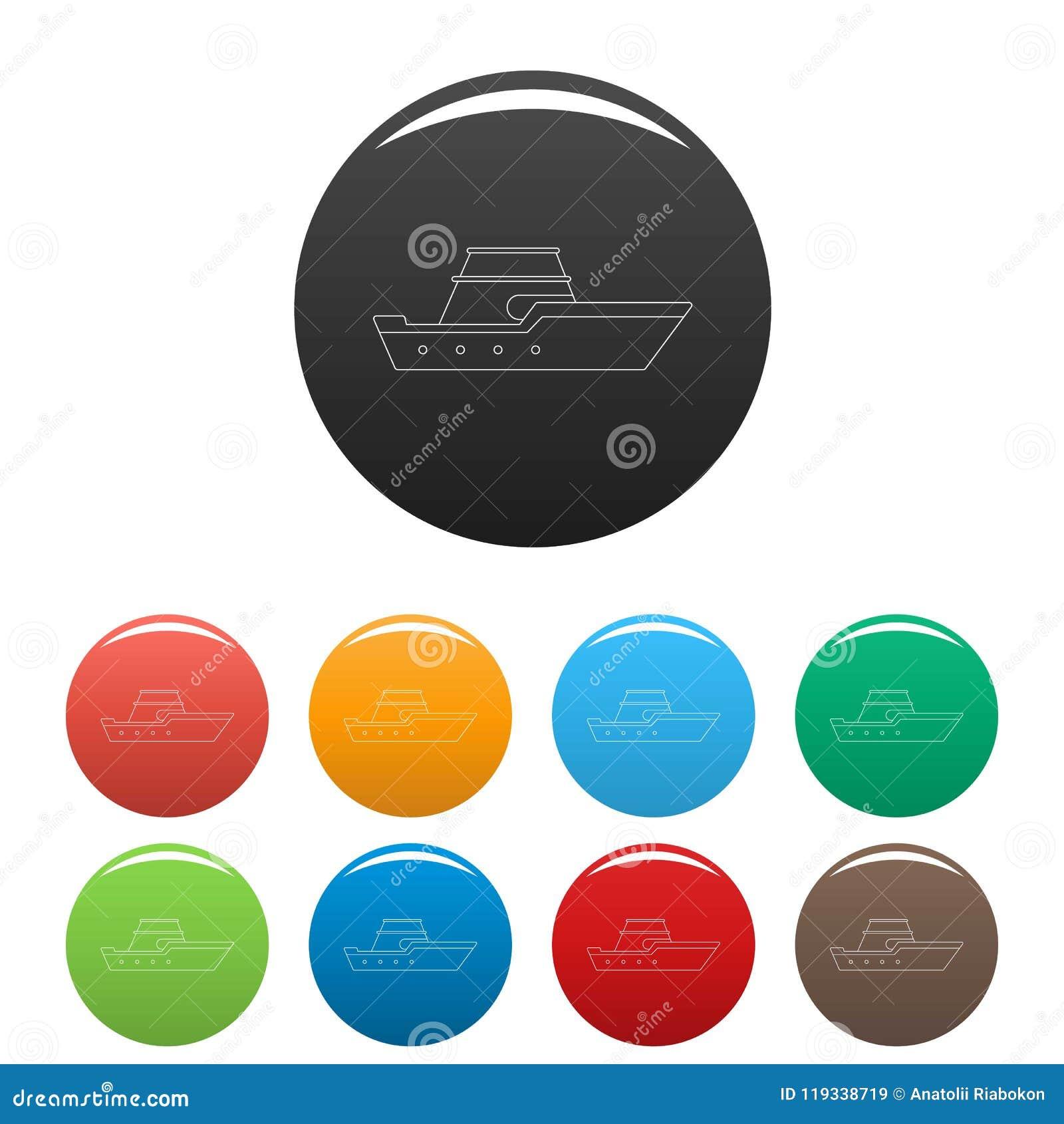 Vektor för färg för Powerboatsymbolsuppsättning