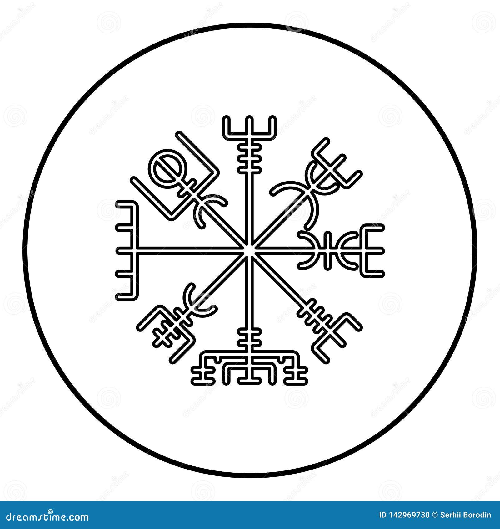Vektor för färg för svart för översikt för symbol för symbol för kompass för navigering för Vegvisir run- kompassgaldrastav i cir