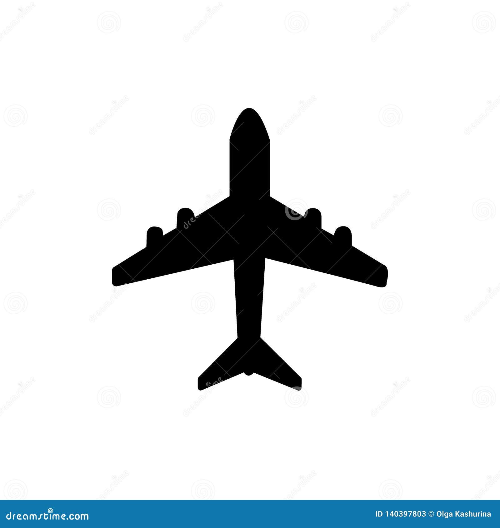 Vektor för flygplansymbolssymbol På vitbakgrund