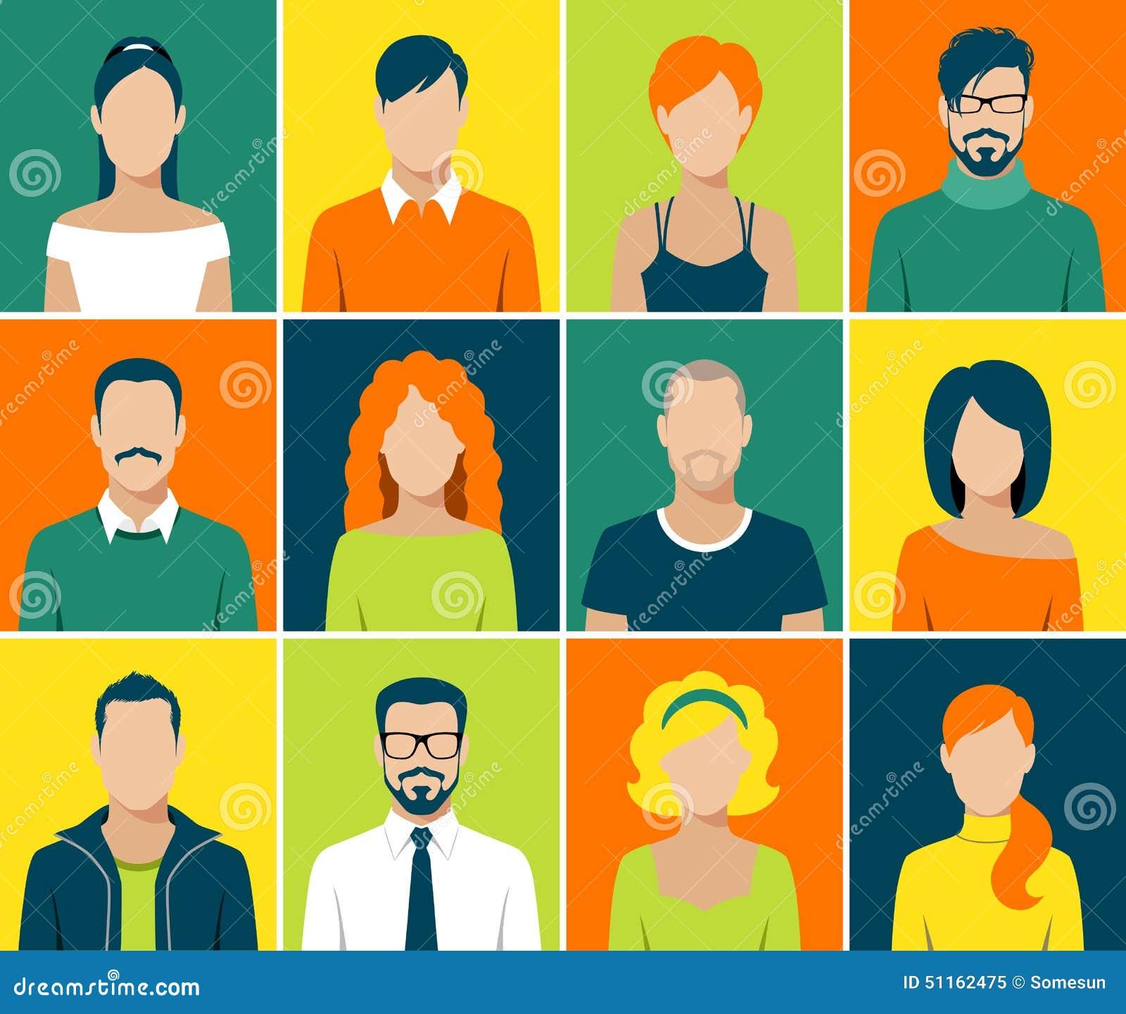 Vektor för folk för framsida för användare för plana avatarapp-symboler fastställd