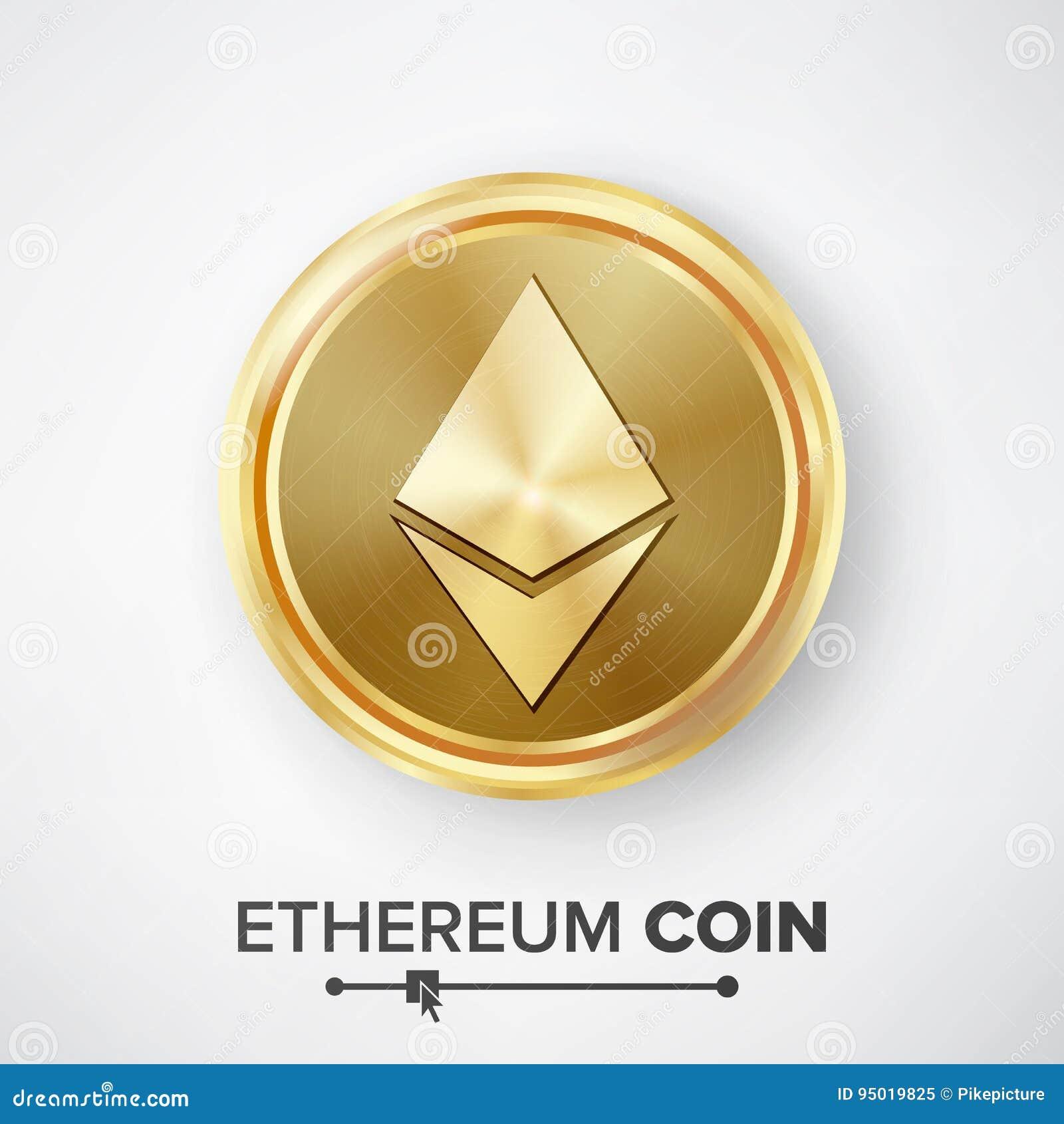 Vektor för guld- mynt för Ethereum mynt Realistisk Crypto valutapengar och finansteckenillustration Etherum mynt Digital