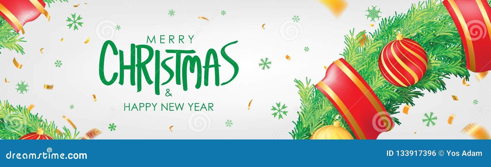 Vektor för illustration för banerjul eps10 Bakgrund för vit jul med julbollar, snöflingor och guld- konfettier Horisontaljulaffis