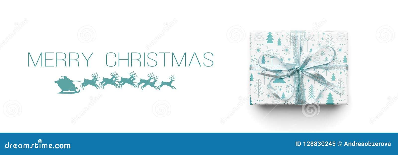 Vektor för illustration för banerjul eps10 Härlig julgåva som isoleras på vit bakgrund Turkos färgad slågen in xmas-ask