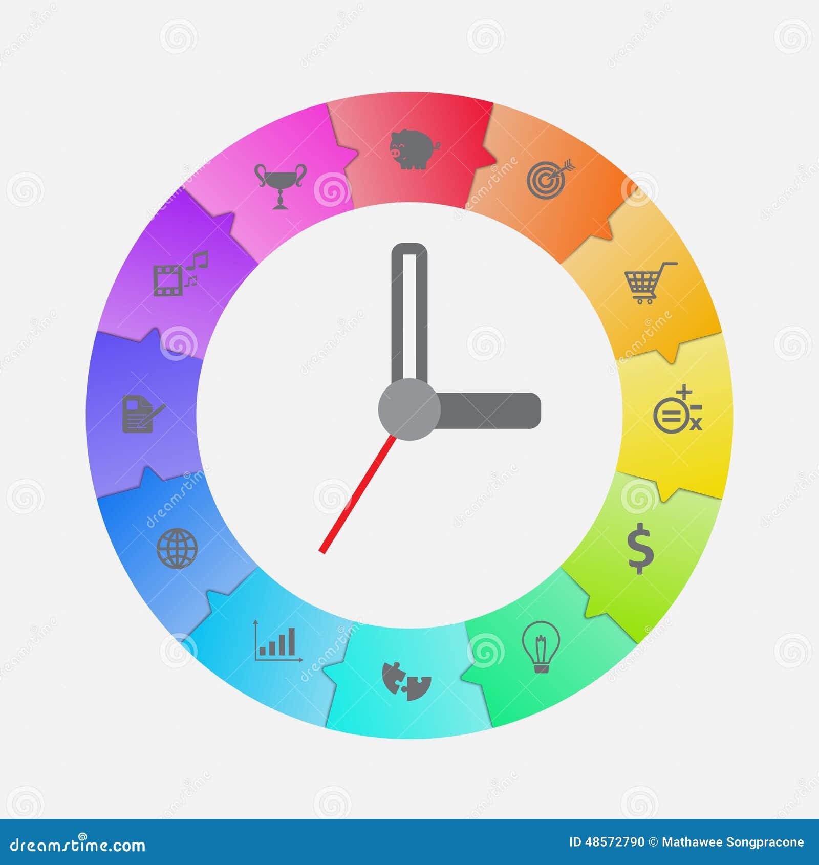 Vektor för Infographic klockadesign