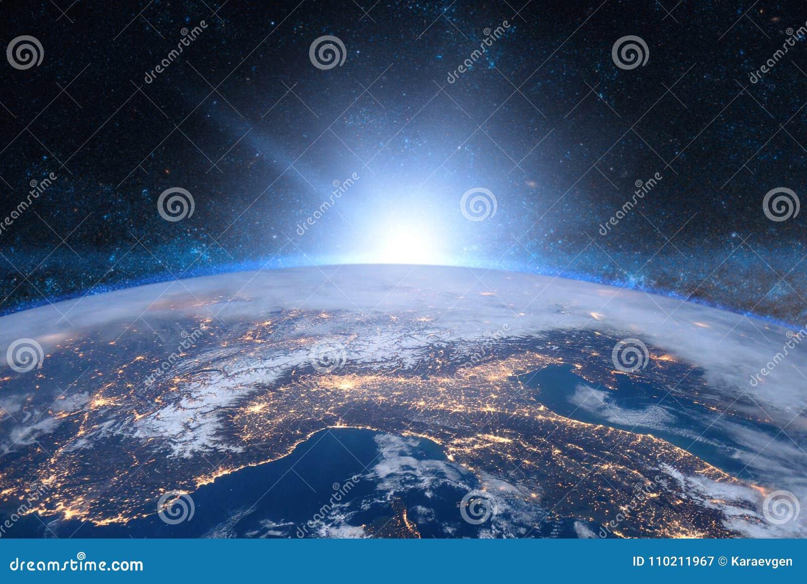 Vektor för jordillustrationavstånd blå soluppgång