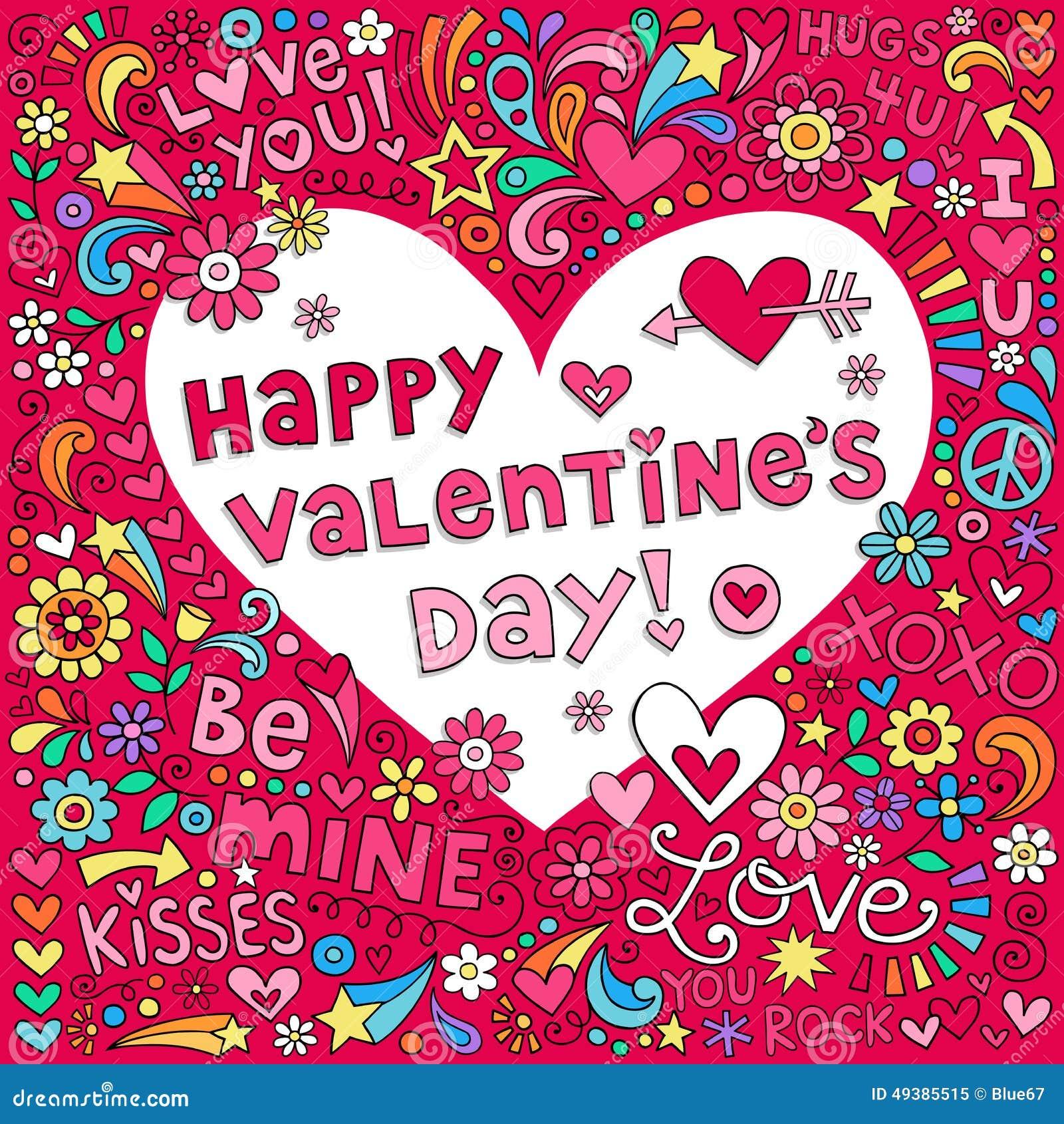 Vektor för klotter för anteckningsbok för förälskelse för valentindaghjärta