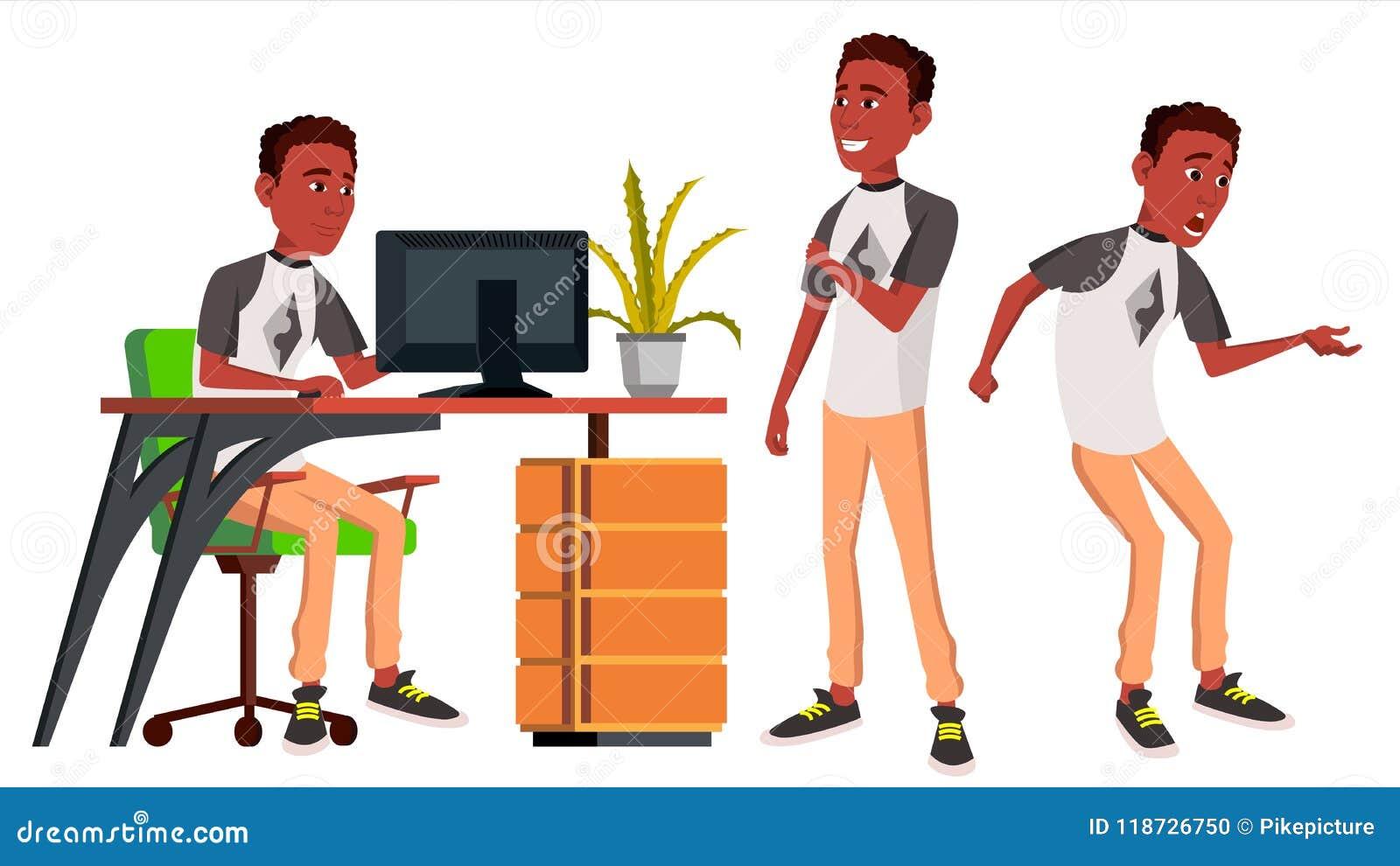 Vektor för kontorsarbetare sinnesrörelser livsstil _ afrikansk stående för person för affärsaffärsmanlycka poserar Framdel sidosi