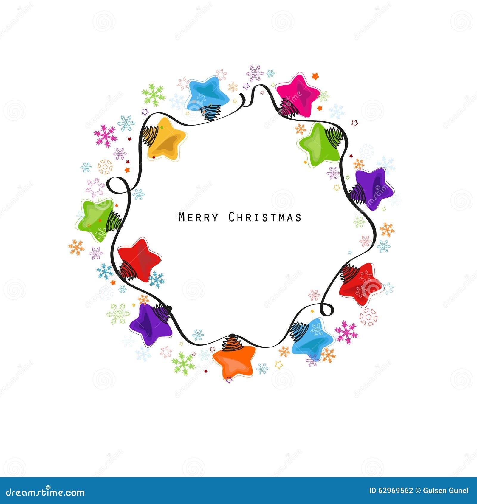 Vektor för kort för hälsning för nytt år för ljus kula för julstjärna