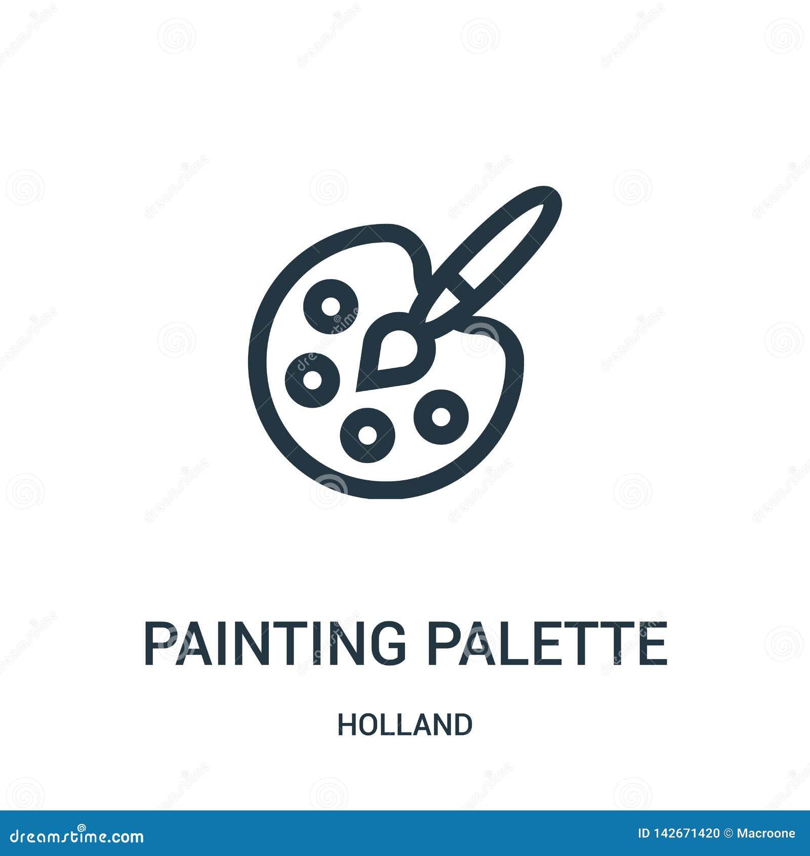 Vektor för målningpalettsymbol från den holland samlingen Tunn linje illustration för vektor för symbol för målningpalettöversikt