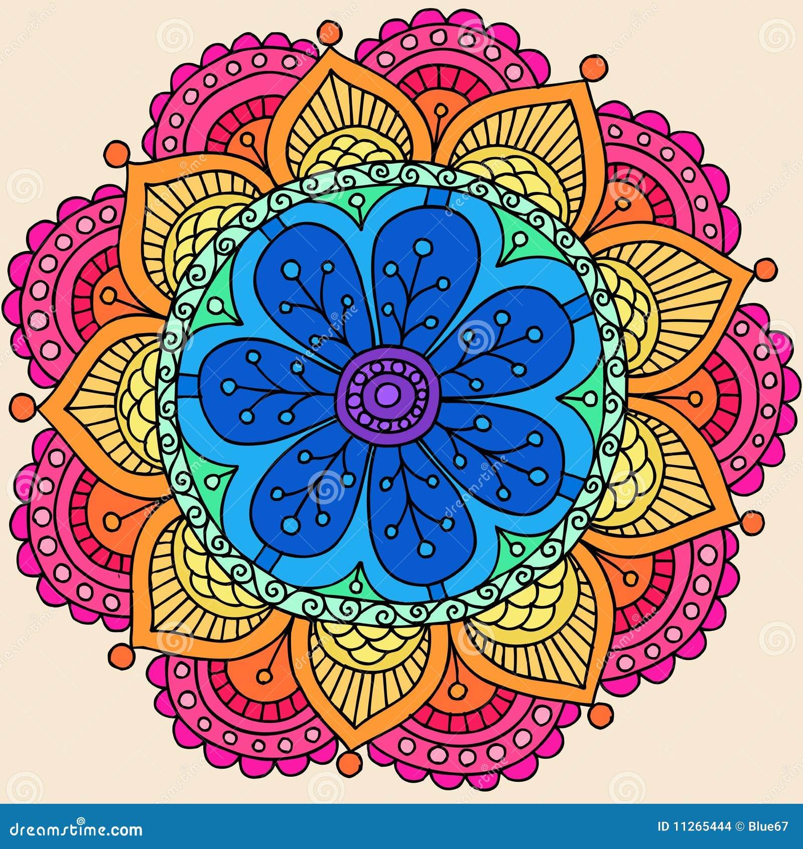 Vektor för mandala för klotterblommahenna psychedelic