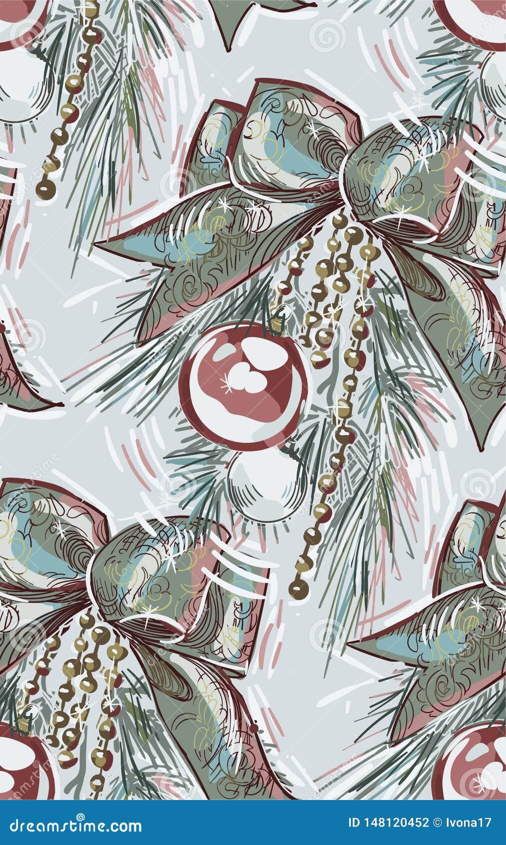Vektor för modell för nytt år för jul för pilbåge för boll för trädfilial blå rosa sömlös texturerad målarfärg