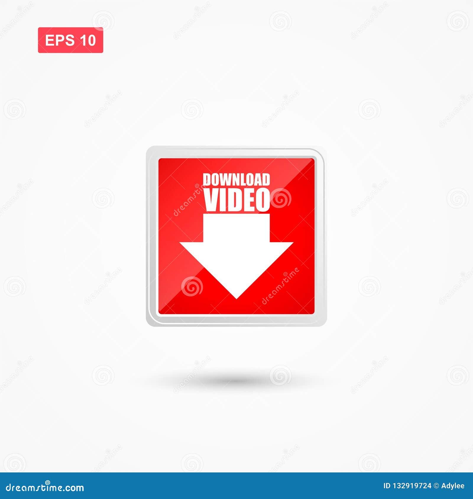 Vektor för röd knapp för nedladdning video med pilen