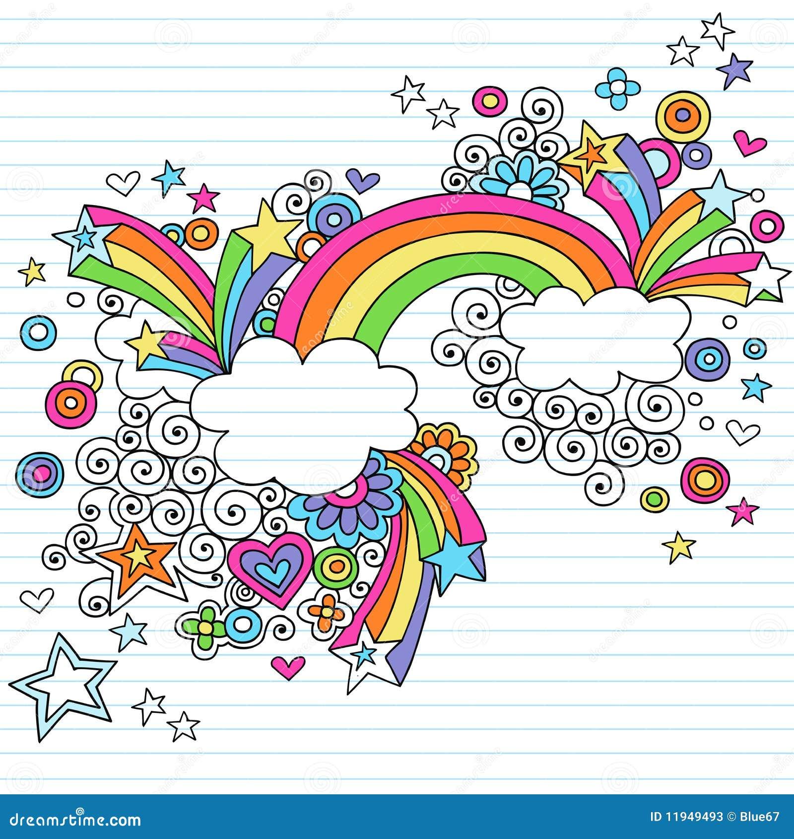 Vektor för regnbåge för klotteranteckningsbok psychedelic