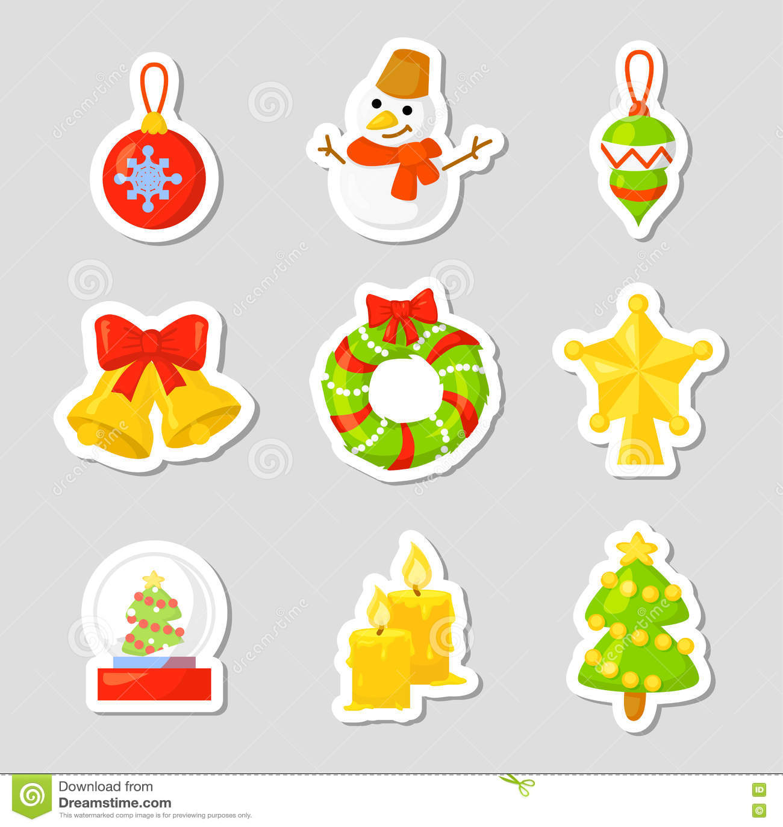 Vektor för samling för julsymbolsuppsättning cartoon Traditionella symboler för nytt år symbolsobjekt isolerat