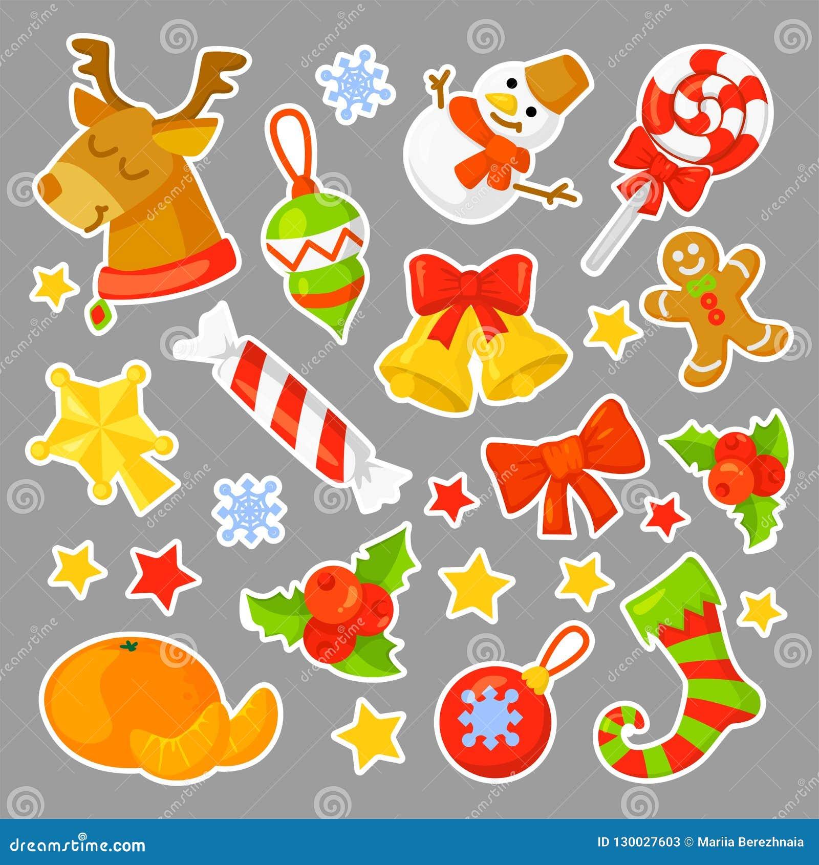 Vektor för samling för julklistermärkear fastställd cartoon Traditionella symboler för nytt år symbolsobjekt isolerat