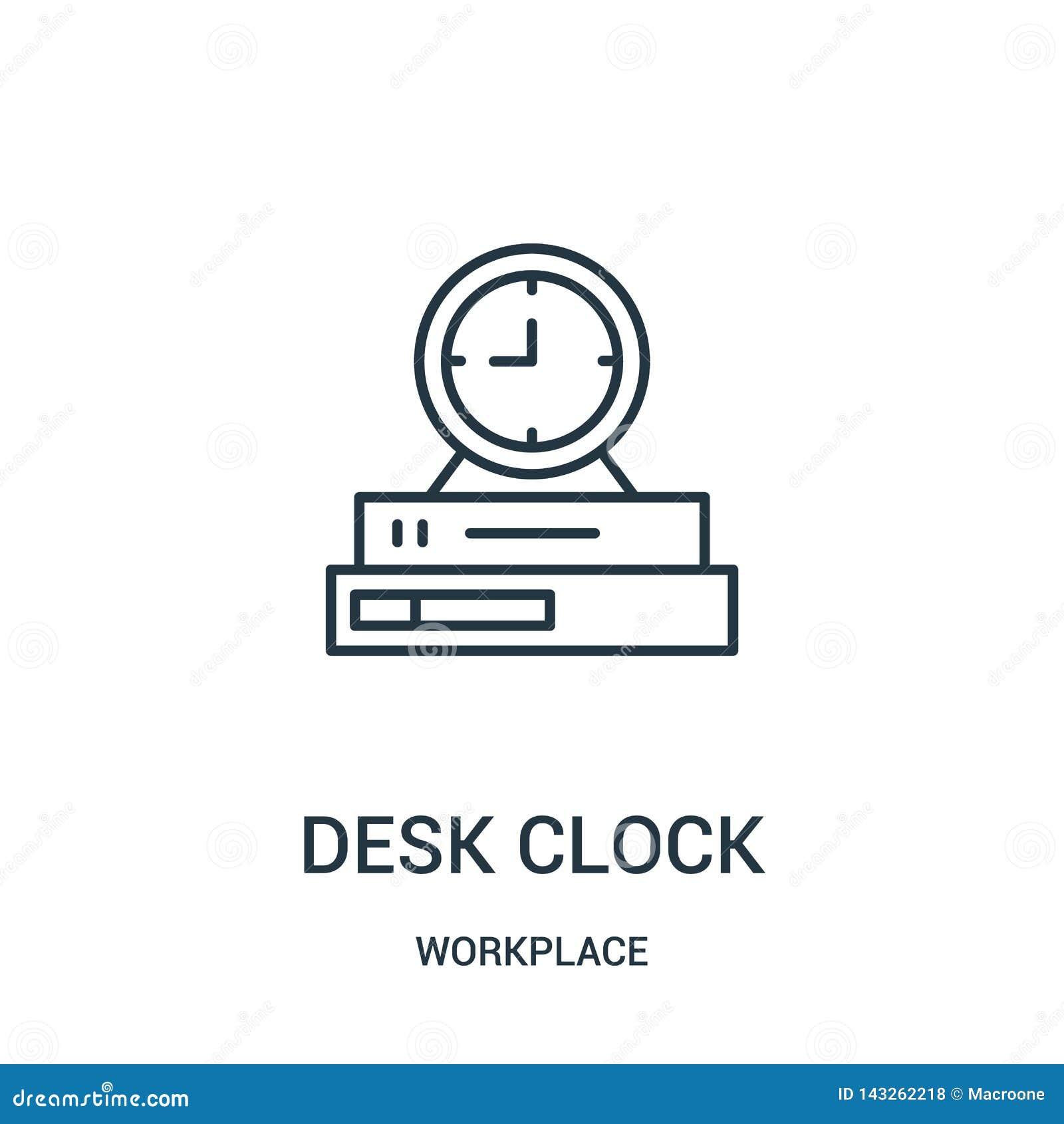 Vektor för skrivbordklockasymbol från arbetsplatssamling Tunn linje illustration för vektor för symbol för skrivbordklockaöversik