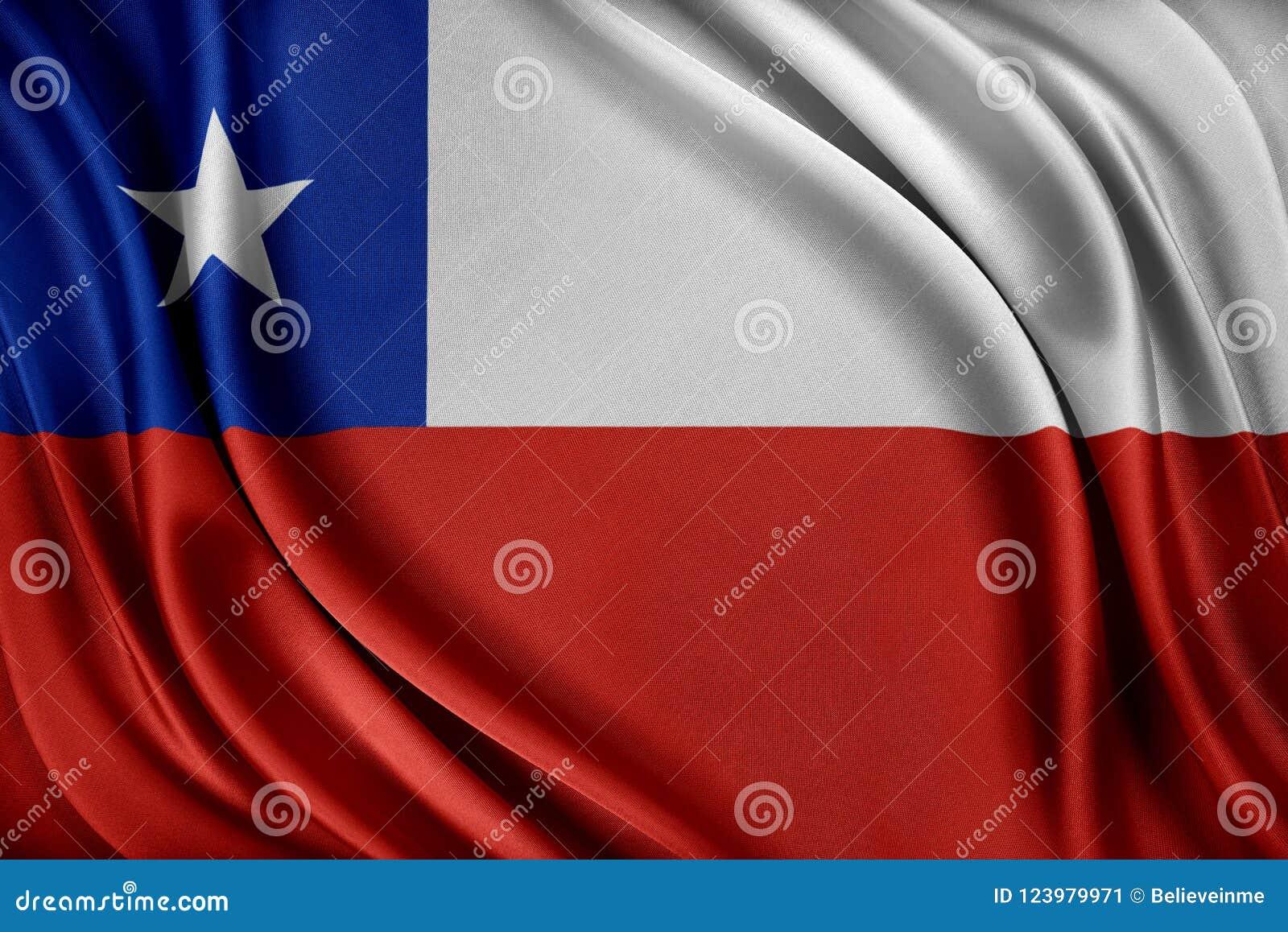 Vektor för stil för tillgänglig chile flagga glass Flagga med en glansig siden- textur