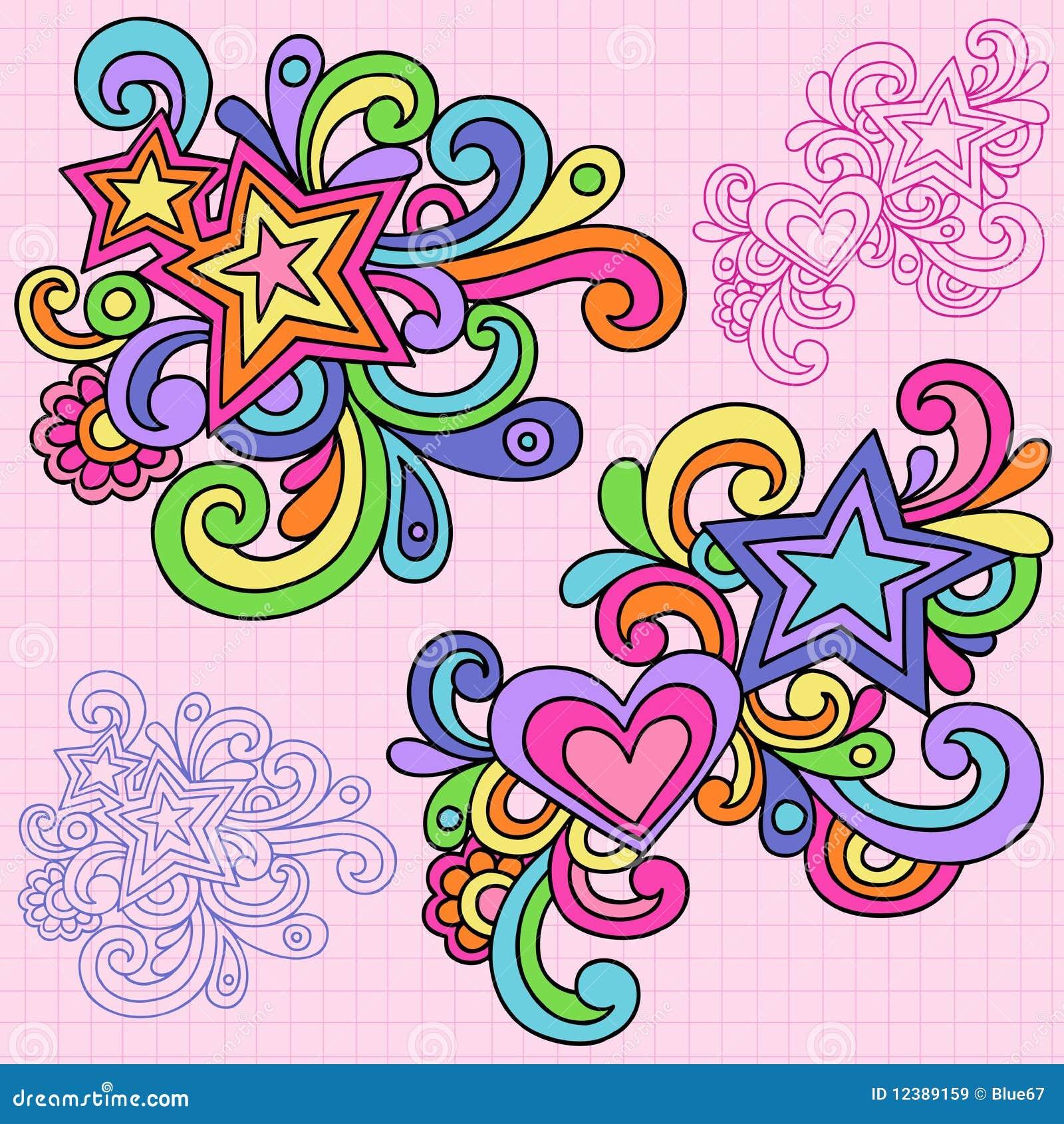 Vektor för stjärnor för klotterhjärtaanteckningsbok psychedelic